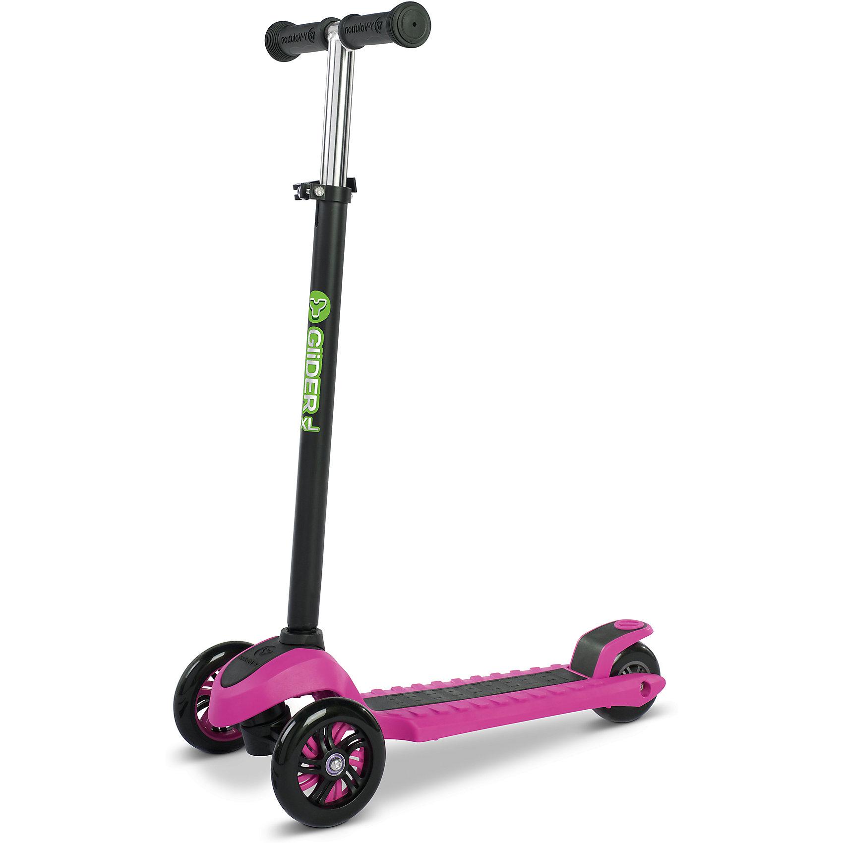 Трехколесный самокат Y-volution Glider XL, розовыйСамокаты<br>Характеристики товара:<br><br>• возраст: от 5 лет;<br>• максимальная нагрузка: 50 кг;<br>• материал: металл, пластик;<br>• материал колес: полиуретан;<br>• регулируемая высота руля;<br>• ножной тормоз;<br>• вес самоката: 2,6 кг;<br>• размер упаковки: 60х41х65 см;<br>• вес упаковки: 2,6 кг;<br>• страна производитель: Китай.<br><br>Трехколесный самокат Glider XL Yvolution розовый научит ребенка координировать движения и держать равновесие. Самокат оснащен удобным и простым в управлении рулевым механизмом, понятным даже начинающим райдерам. Для поворота рулевая стойка наклоняется в нужную сторону, что позволяет легко держать равновесие даже при повороте.<br><br>Колеса изготовлены из долговечного износостойкого полиуретана, который обеспечивает плавную и ровную езду. 2 передних колеса придают самокату хорошей устойчивости. Дека имеет рифленую поверхность для безопасной езды и хорошей устойчивости на ее поверхности. Ножной тормоз гарантирует быстрое торможение перед препятствием.<br><br>Руль регулируется по высоте, что позволит адаптировать его под растущего ребенка. Ручки руля покрыты прорезиненными накладками, предотвращающими соскальзывание ладоней во время катания. Рулевую стойку можно убрать для более удобного хранения дома или перевозки.<br><br>Трехколесный самокат Glider XL Yvolution розовый можно приобрести в нашем интернет-магазине.<br><br>Ширина мм: 600<br>Глубина мм: 410<br>Высота мм: 650<br>Вес г: 2600<br>Возраст от месяцев: 60<br>Возраст до месяцев: 2147483647<br>Пол: Женский<br>Возраст: Детский<br>SKU: 6679955