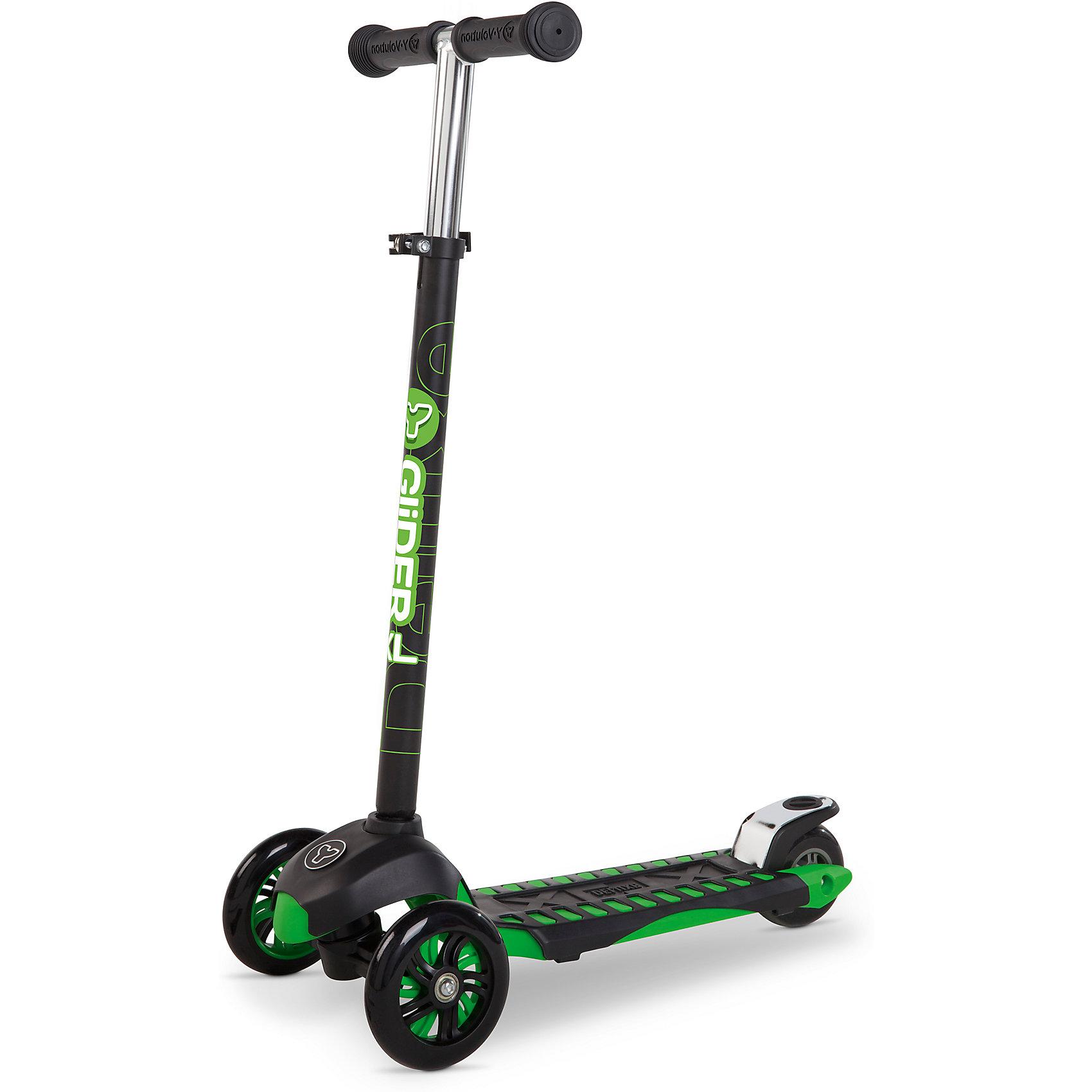 Трехколесный самокат Y-volution Glider XL Deluxe, зеленыйСамокаты<br>Характеристики товара:<br><br>• возраст: от 5 лет;<br>• максимальная нагрузка: 50 кг;<br>• материал: металл, пластик;<br>• материал колес: полиуретан;<br>• высота руля: 77-88 см;<br>• ножной тормоз;<br>• вес самоката: 2,8 кг;<br>• размер упаковки: 60х41х65 см;<br>• вес упаковки: 2,8 кг;<br>• страна производитель: Китай.<br><br>Трехколесный самокат Glider XL Deluxe Yvolution зеленый сделает активной и интересной летнюю прогулку. Он подойдет для катания по городским улочкам и паркам. Катание на самокате способствует физическому развитию ребенка, учит его координировать свои движения и держать равновесие. <br><br>Самокат оснащен удобным и простым в управлении рулевым механизмом, понятным даже начинающим райдерам. Для поворота рулевая стойка наклоняется в нужную сторону, что позволяет легко держать равновесие даже при повороте. Руль регулируется по высоте под растущего ребенка. Рулевую стойку можно вынуть из основания для хранения дома или транспортировки.<br><br>Колеса изготовлены из долговечного износостойкого полиуретана, который обеспечивает плавную и ровную езду. 2 передних колеса придают самокату хорошей устойчивости. Рифленая поверхность деки обеспечивает хорошее сцепление с поверхностью для безопасной езды. Ножной тормоз гарантирует быстрое торможение перед препятствием. Рама изготовлена из прочного материала, выдерживающего большие нагрузки.<br><br>Трехколесный самокат Glider XL Deluxe Yvolution зеленый можно приобрести в нашем интернет-магазине.<br><br>Ширина мм: 600<br>Глубина мм: 410<br>Высота мм: 650<br>Вес г: 2800<br>Возраст от месяцев: 60<br>Возраст до месяцев: 2147483647<br>Пол: Унисекс<br>Возраст: Детский<br>SKU: 6679956