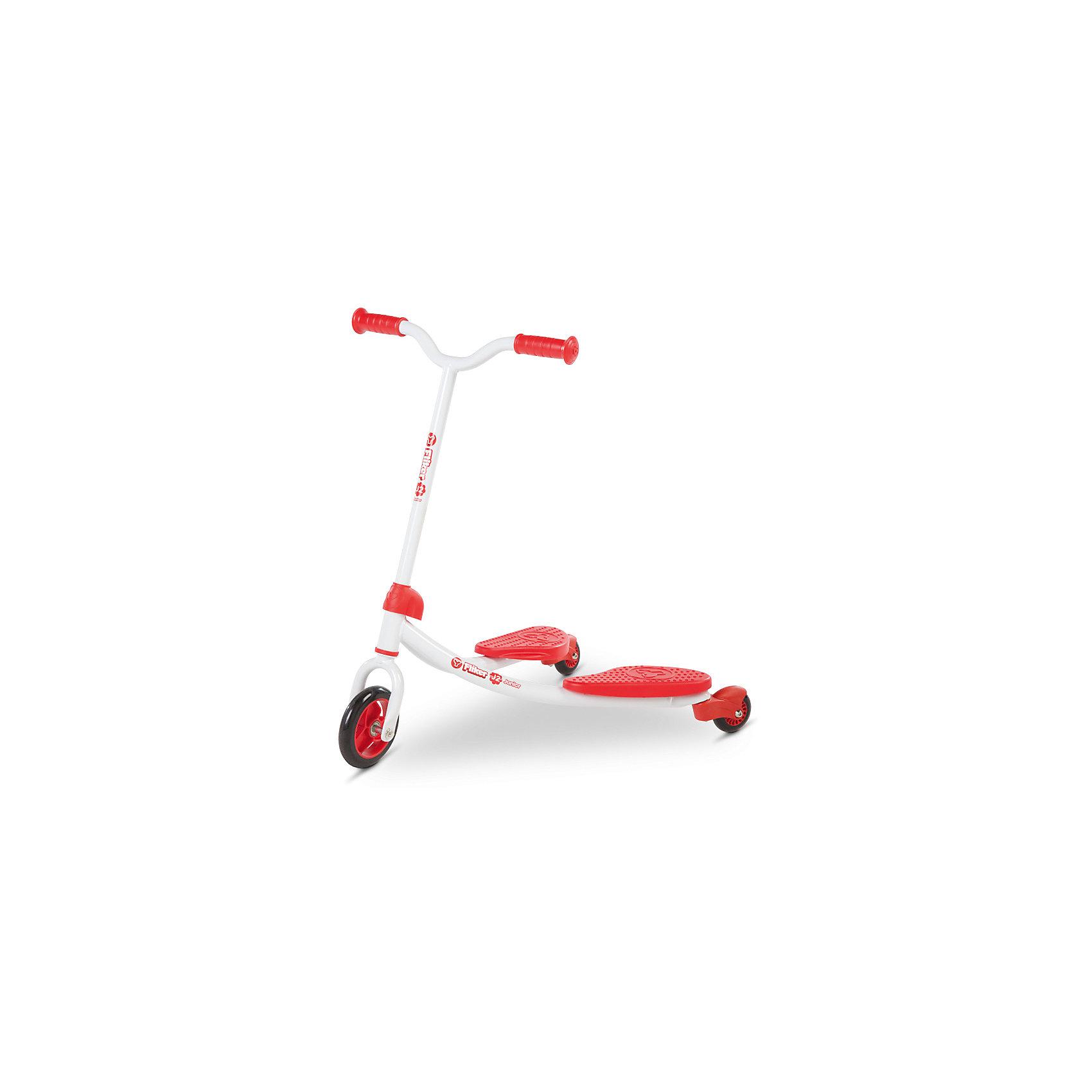 Инерционный самокат Y-volution Fliker J2, красныйСамокаты<br>Характеристики товара:<br><br>• возраст: от 3 лет;<br>• максимальная нагрузка: 20 кг;<br>• материал: металл, пластик;<br>• материал колес: полиуретан;<br>• диаметр переднего колеса: 120 мм, задних колес: 65 мм;<br>• высота руля: 70 см;<br>• вес самоката: 2,6 кг;<br>• размер упаковки: 60х41х65 см;<br>• вес упаковки: 2,6 кг;<br>• страна производитель: Китай.<br><br>Трехколесный инерционный самокат Yvolution Fliker J2 красный — оригинальный инерционный самокат с двумя платформами. Он приводится в движение перемещением центра тяжести из стороны в сторону. Такая конструкция позволяет развивать все группы мышц, вестибулярный аппарат и тренировать координацию движений. <br><br>Конструкция с двумя платформами и 3 колесами отличается хорошей устойчивостью. Крылья во время движения зафиксированы, не разводятся в стороны, что позволит даже начинающим райдерам быстро освоить навыки катания.<br><br>Руль имеет Y-образную форму для более удобного и простого управления. Каждая платформа покрыта ребристой поверхностью для более плотной фиксации, чтобы ноги не соскальзывали во время катания. Колеса изготовлены из прочного износостойкого полиуретана.<br><br>Трехколесный инерционный самокат Yvolution Fliker J2 красный можно приобрести в нашем интернет-магазине.<br><br>Ширина мм: 600<br>Глубина мм: 410<br>Высота мм: 650<br>Вес г: 2600<br>Возраст от месяцев: 36<br>Возраст до месяцев: 2147483647<br>Пол: Унисекс<br>Возраст: Детский<br>SKU: 6679959