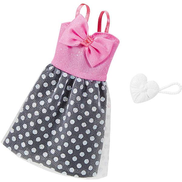 Одежда для кукол Barbie Игра с модой - Праздничное платьеОдежда для кукол<br>Характеристики товара:<br><br>• возраст от 3 лет;<br>• материал: текстиль;<br>• в комплекте: платье, аксессуары;<br>• размер упаковки 25,7х11,6х1,2 см;<br>• вес упаковки 26 гр.;<br>• страна производитель: Китай.<br><br>Универсальное праздничное платье для Barbie Mattel создаст новый яркий образ для любимой куколки Барби. Яркое платье с розовым бантом и юбочкой в горошек дополнено стильными аксессуарами для создания неповторимого образа. Платье универсальное и подходит для всех кукол Барби. Изготовлено платье из качественных материалов без использования вредных красителей.<br><br>Универсальное праздничное платье для Barbie Mattel можно приобрести в нашем интернет-магазине.<br><br>Ширина мм: 257<br>Глубина мм: 116<br>Высота мм: 12<br>Вес г: 26<br>Возраст от месяцев: 36<br>Возраст до месяцев: 72<br>Пол: Женский<br>Возраст: Детский<br>SKU: 6680132