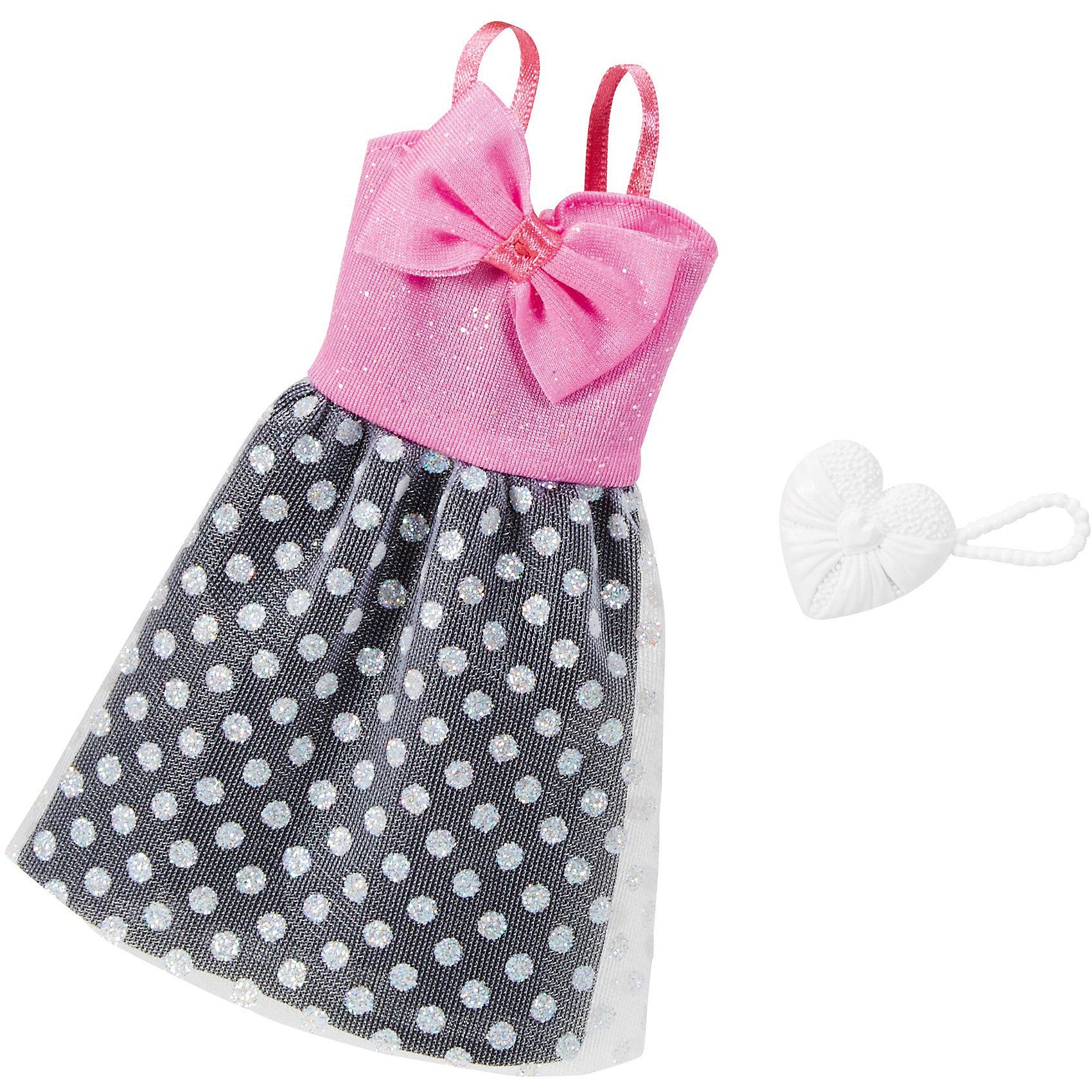 Одежда для кукол Barbie Игра с модой - Праздничное платьеКукольная одежда и аксессуары<br>Характеристики товара:<br><br>• возраст от 3 лет;<br>• материал: текстиль;<br>• в комплекте: платье, аксессуары;<br>• размер упаковки 25,7х11,6х1,2 см;<br>• вес упаковки 26 гр.;<br>• страна производитель: Китай.<br><br>Универсальное праздничное платье для Barbie Mattel создаст новый яркий образ для любимой куколки Барби. Яркое платье с розовым бантом и юбочкой в горошек дополнено стильными аксессуарами для создания неповторимого образа. Платье универсальное и подходит для всех кукол Барби. Изготовлено платье из качественных материалов без использования вредных красителей.<br><br>Универсальное праздничное платье для Barbie Mattel можно приобрести в нашем интернет-магазине.<br><br>Ширина мм: 257<br>Глубина мм: 116<br>Высота мм: 12<br>Вес г: 26<br>Возраст от месяцев: 36<br>Возраст до месяцев: 72<br>Пол: Женский<br>Возраст: Детский<br>SKU: 6680132