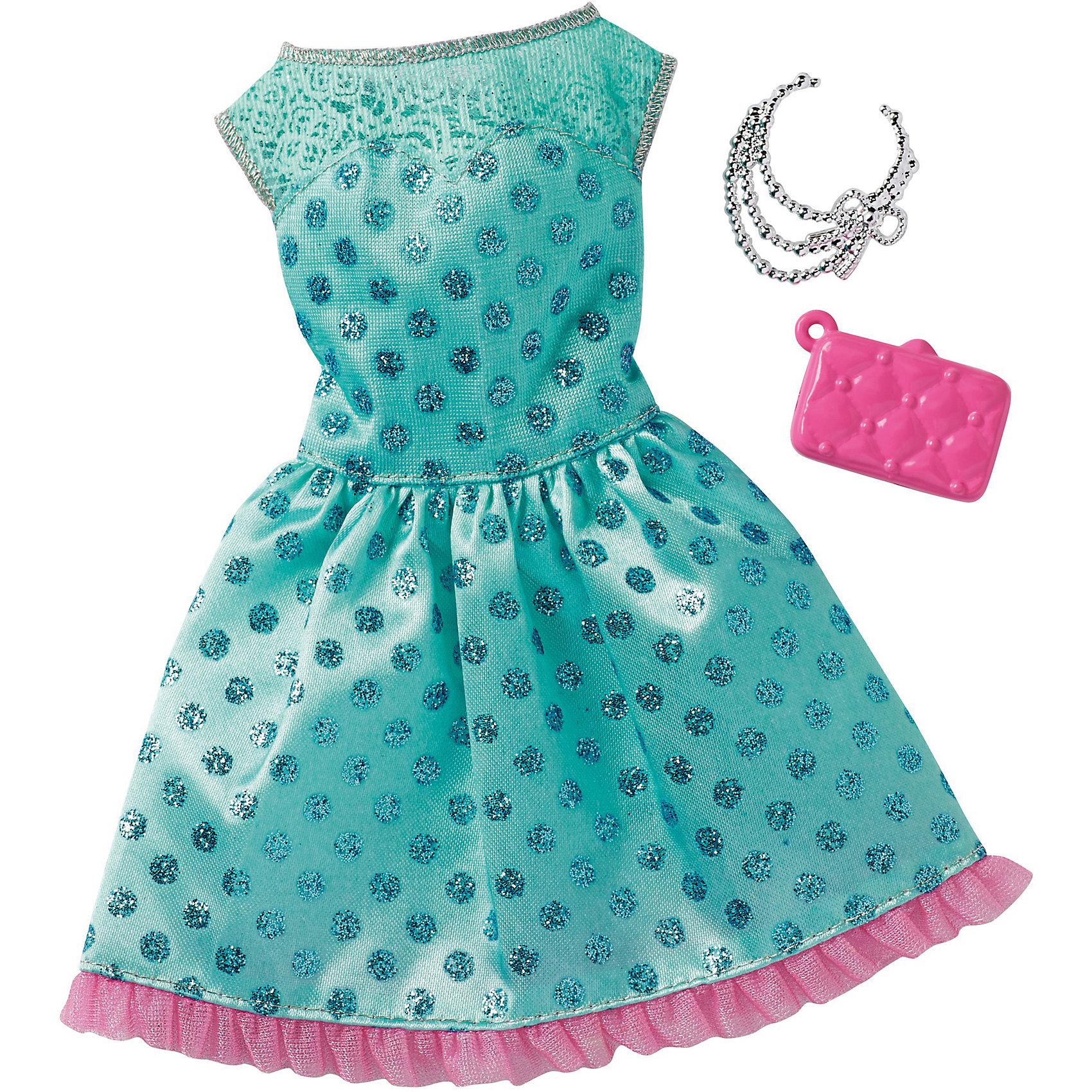 Одежда для кукол Barbie Игра с модой - Праздничное платьеКукольная одежда и аксессуары<br>Характеристики товара:<br><br>• возраст от 3 лет;<br>• материал: текстиль;<br>• в комплекте: платье, аксессуары;<br>• размер упаковки 25,7х11,6х1,2 см;<br>• вес упаковки 26 гр.;<br>• страна производитель: Китай.<br><br>Универсальное праздничное платье для Barbie Mattel создаст новый яркий образ для любимой куколки Барби. Яркое голубое платье украшено блестками и дополнено стильной сумочкой и ожерельем для создания неповторимого образа. Платье универсальное и подходит для всех кукол Барби. Изготовлено платье из качественных материалов без использования вредных красителей.<br><br>Универсальное праздничное платье для Barbie Mattel можно приобрести в нашем интернет-магазине.<br><br>Ширина мм: 257<br>Глубина мм: 116<br>Высота мм: 12<br>Вес г: 26<br>Возраст от месяцев: 36<br>Возраст до месяцев: 72<br>Пол: Женский<br>Возраст: Детский<br>SKU: 6680133
