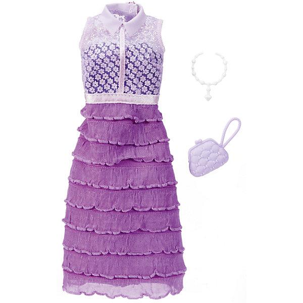 Одежда для кукол Barbie Игра с модой - Праздничное платьеОдежда для кукол<br>Характеристики товара:<br><br>• возраст от 3 лет;<br>• материал: текстиль;<br>• в комплекте: платье, аксессуары;<br>• размер упаковки 25,7х11,6х1,2 см;<br>• вес упаковки 26 гр.;<br>• страна производитель: Китай.<br><br>Универсальное праздничное платье для Barbie Mattel создаст новый яркий образ для любимой куколки Барби. Яркое фиолетовое платье дополнено стильной сумочкой и ожерельем для создания неповторимого образа. Платье универсальное и подходит для всех кукол Барби. Изготовлено платье из качественных материалов без использования вредных красителей.<br><br>Универсальное праздничное платье для Barbie Mattel можно приобрести в нашем интернет-магазине.<br><br>Ширина мм: 257<br>Глубина мм: 116<br>Высота мм: 12<br>Вес г: 26<br>Возраст от месяцев: 36<br>Возраст до месяцев: 72<br>Пол: Женский<br>Возраст: Детский<br>SKU: 6680134