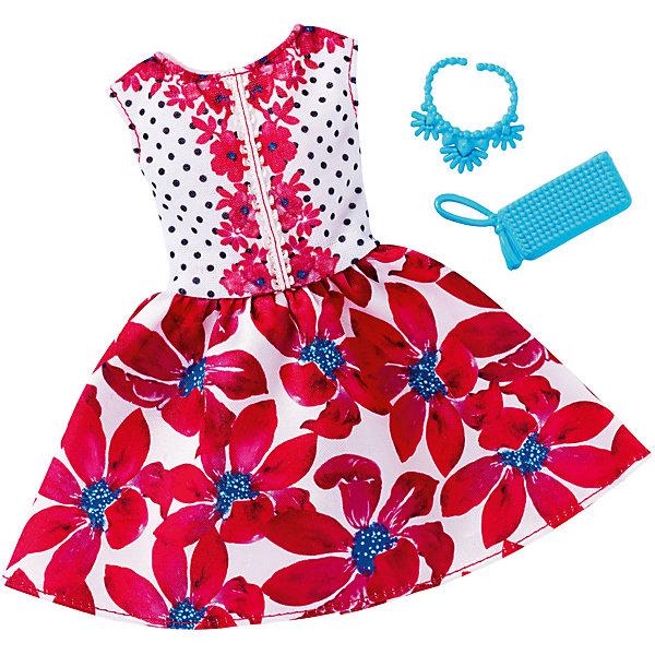 Одежда для кукол Barbie Игра с модой - Праздничное платьеОдежда для кукол<br>Характеристики товара:<br><br>• возраст от 3 лет;<br>• материал: текстиль;<br>• в комплекте: платье, аксессуары;<br>• размер упаковки 25,7х11,6х1,2 см;<br>• вес упаковки 26 гр.;<br>• страна производитель: Китай.<br><br>Универсальное праздничное платье для Barbie Mattel создаст новый яркий образ для любимой куколки Барби. Яркое платье украшено цветочным принтом и дополнено стильной сумочкой и ожерельем для создания неповторимого образа. Платье универсальное и подходит для всех кукол Барби. Изготовлено платье из качественных материалов без использования вредных красителей.<br><br>Универсальное праздничное платье для Barbie Mattel можно приобрести в нашем интернет-магазине.<br><br>Ширина мм: 257<br>Глубина мм: 116<br>Высота мм: 12<br>Вес г: 26<br>Возраст от месяцев: 36<br>Возраст до месяцев: 72<br>Пол: Женский<br>Возраст: Детский<br>SKU: 6680135