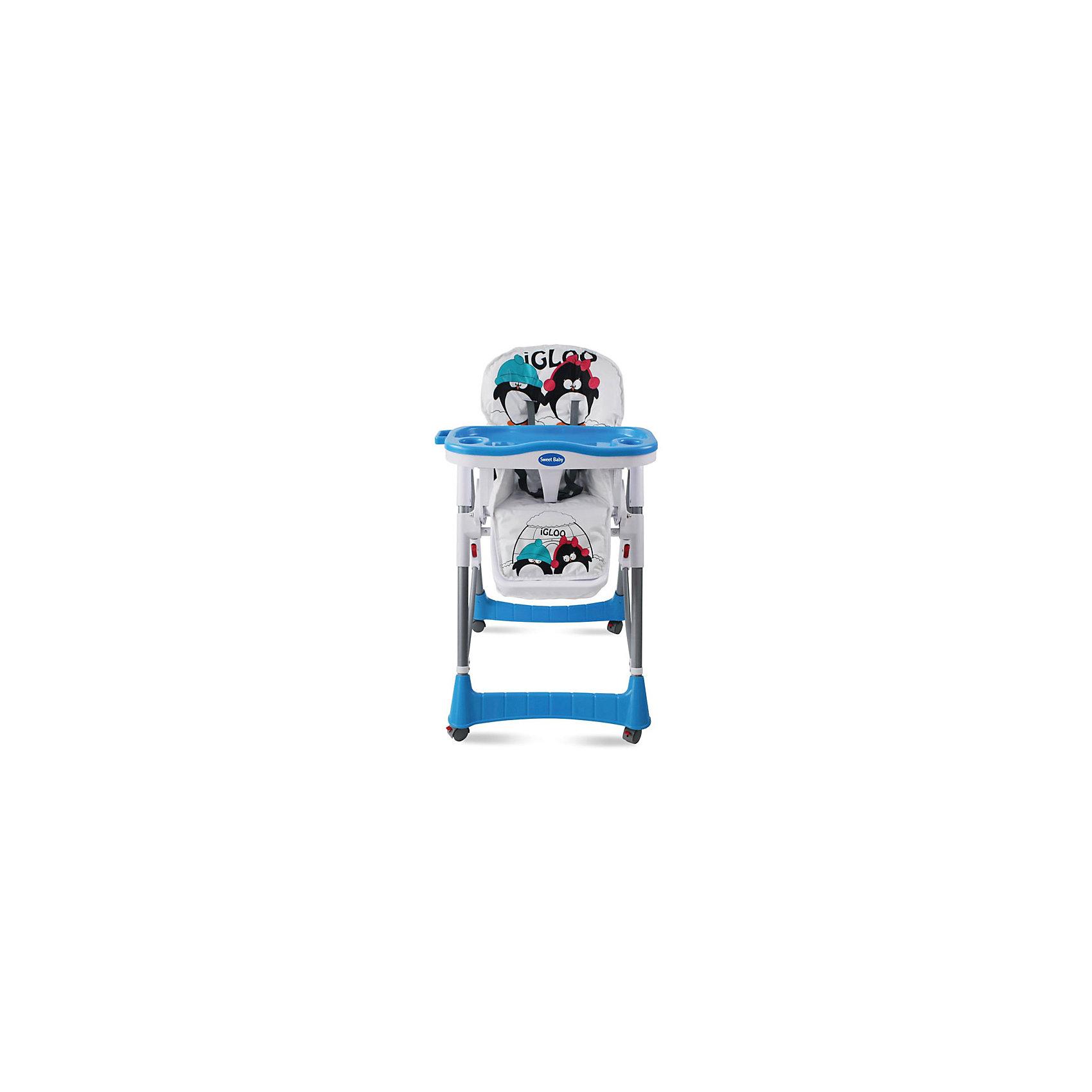 Стульчик для кормления Couple, Sweet Baby, Light AquaСтульчики для кормления<br>Характеристики товара:<br><br>• цвет: Light Aqua<br>• для детей от 6 месяцев до 3 лет<br>• устойчивая конструкция<br>• 4 колесика со стопорами<br>• регулировка сиденья по высоте (5 положений)<br>• регулируемая спинка (3 положения)<br>• съемный регулируемый столик с разделителем для ножек<br>• съемный поднос с 2 углублениями для стаканов<br>• 5-точечный ремень безопасности<br>• мягкий чехол<br>• корзина для мелочей<br>• материал: пластик, металл, текстиль<br>• вес: 8,5 кг<br>• размер стульчика: 70х60х106 см<br>• размер упаковки: 70х29х47 см<br><br>Стульчик для кормления Sweet Baby Couple для детей от 6 месяцев. Это практичная и функциональная модель, которую можно настроить индивидуально для каждого ребенка. <br><br>Для обеспечения безопасности малыша, в Couple предусмотрены ремни безопасности, пластиковый разделитель для ножек и высокие боковинки. <br><br>Этот компактный стульчик займет немного места в помещении любого размера. Благодаря небольшим колесикам, его быстро и удобно перемещать. Поднос столика снимается и может мыться в посудомоечной машине, а текстильная накладка устойчива к влаге и загрязнениям. <br><br>Стульчик для кормления Couple, Sweet Baby, Light Aqua можно купить в нашем интернет-магазине.<br><br>Ширина мм: 750<br>Глубина мм: 600<br>Высота мм: 1050<br>Вес г: 9500<br>Возраст от месяцев: 0<br>Возраст до месяцев: 36<br>Пол: Унисекс<br>Возраст: Детский<br>SKU: 6680148