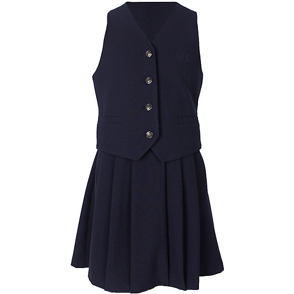 Комплект для девочки СменаПиджаки и костюмы<br>Характеристики товара:<br><br>• цвет: темно-синий;<br>• состав: 55% полиэстер, 40% вискоза, 5% полиуретан;<br>• подкладка: 50% вискоза, 50% полиэстер;<br>• сезон: демисезон;<br>• особенности: школьный;<br>• костюм-двойка: юбка, жилет;<br>• жилет на подкладке;<br>• жилет застегивается на пуговицы;<br>• юбка застегивается на пуговицу и молнию сбоку;<br>• страна бренда: Россия;<br>• страна производства: Россия.<br><br>Школьный костюм-двойка для девочки. Жилет на подкладке застегивается на пуговицы, сзади ремешок. Юбка в легкую складку, застегивается на молнию и пуговицу сбоку. Костюм однотонного синего цвета.<br><br>Комплект для девочки Смена можно купить в нашем интернет-магазине.<br><br>Ширина мм: 207<br>Глубина мм: 10<br>Высота мм: 189<br>Вес г: 183<br>Цвет: синий<br>Возраст от месяцев: 72<br>Возраст до месяцев: 84<br>Пол: Женский<br>Возраст: Детский<br>Размер: 122,164,158,152,146,140,134,128<br>SKU: 6683998
