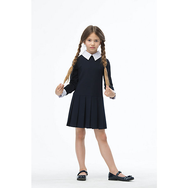 Платье для девочки СменаПлатья и сарафаны<br>Характеристики товара:<br><br>• цвет: синий<br>• состав: 22% шерсть, 57% полиэстер, 16% вискоза, 5% полиуретан<br>• сезон: демисезон<br>• особенности: школьное, прямое, в складку<br>• приятная на ощупь ткань<br>• длина: выше колен<br>• контрастный воротник и манжеты<br>• страна бренда: Российская Федерация<br>• страна производства: Российская Федерация<br><br>Школьное платье в складку для девочки. Прямое платье застегивается сзади на молнию. Платье с длинным рукавом, воротник и манжеты контрастного белого цвета. Платье в складку.<br><br>Платье для девочки Смена можно купить в нашем интернет-магазине.<br><br>Ширина мм: 236<br>Глубина мм: 16<br>Высота мм: 184<br>Вес г: 177<br>Цвет: синий<br>Возраст от месяцев: 72<br>Возраст до месяцев: 84<br>Пол: Женский<br>Возраст: Детский<br>Размер: 122,164,158,146,152,140,134,128<br>SKU: 6684043