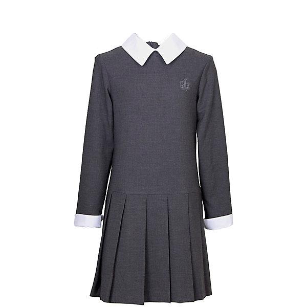 Платье для девочки СменаПлатья и сарафаны<br>Характеристики товара:<br><br>• цвет: серый;<br>• состав: 48% вискоза, 48% полиэстер, 4% полиуретан;<br>• сезон: демисезон;<br>• особенности: школьное;<br>• с длинным рукавом;<br>• юбка в складку;<br>• застежка: молния на спине;<br>• страна бренда: Россия;<br>• страна производства: Россия.<br><br>Школьное платье с длинным рукавом для девочки. Платье в складку внизу, застегивается на молнию на спинке. Декорировано вышивкой на груди. Манжеты рукавов и воротник контрастного белого цвета.<br><br>Платье для девочки Смена можно купить в нашем интернет-магазине.<br><br>Ширина мм: 236<br>Глубина мм: 16<br>Высота мм: 184<br>Вес г: 177<br>Цвет: серый<br>Возраст от месяцев: 60<br>Возраст до месяцев: 72<br>Пол: Женский<br>Возраст: Детский<br>Размер: 116,164,158,146,152,140,134,128,122<br>SKU: 6684052