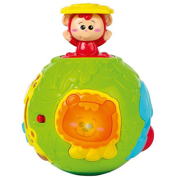 Крутящийся игровой мяч WinFun из джунглей с сюрпризомИнтерактивные игрушки для малышей<br>Характеристики товара:<br><br>• возраст: от 6 месяцев;<br>• материал: пластик;<br>• тип батареек: 2 батарейки АА;<br>• наличие батареек: в комплекте;<br>• размер упаковки: 16х14х14 см;<br>• вес упаковки: 431 кг.;<br>• страна бренда: Китай.<br><br>Крутящийся игровой мяч из джунглей WinFun — развивающая игрушка для малышей, выполненная в виде шара. На нем расположены развивающие элементы: пищалки, вращающиеся шарики, пружинки. Мяч оснащен звуковыми эффектами, которые сделают игру еще интересней. <br><br>Игрушка способствует развитию мелкой моторики рук, логического мышления, цветового и зрительного восприятия. Выполнена из качественного безопасного пластика.<br><br>Крутящийся игровой мяч из джунглей WinFun можно приобрести в нашем интернет-магазине.<br>Ширина мм: 175; Глубина мм: 185; Высота мм: 170; Вес г: 720; Возраст от месяцев: 6; Возраст до месяцев: 24; Пол: Унисекс; Возраст: Детский; SKU: 6688084;