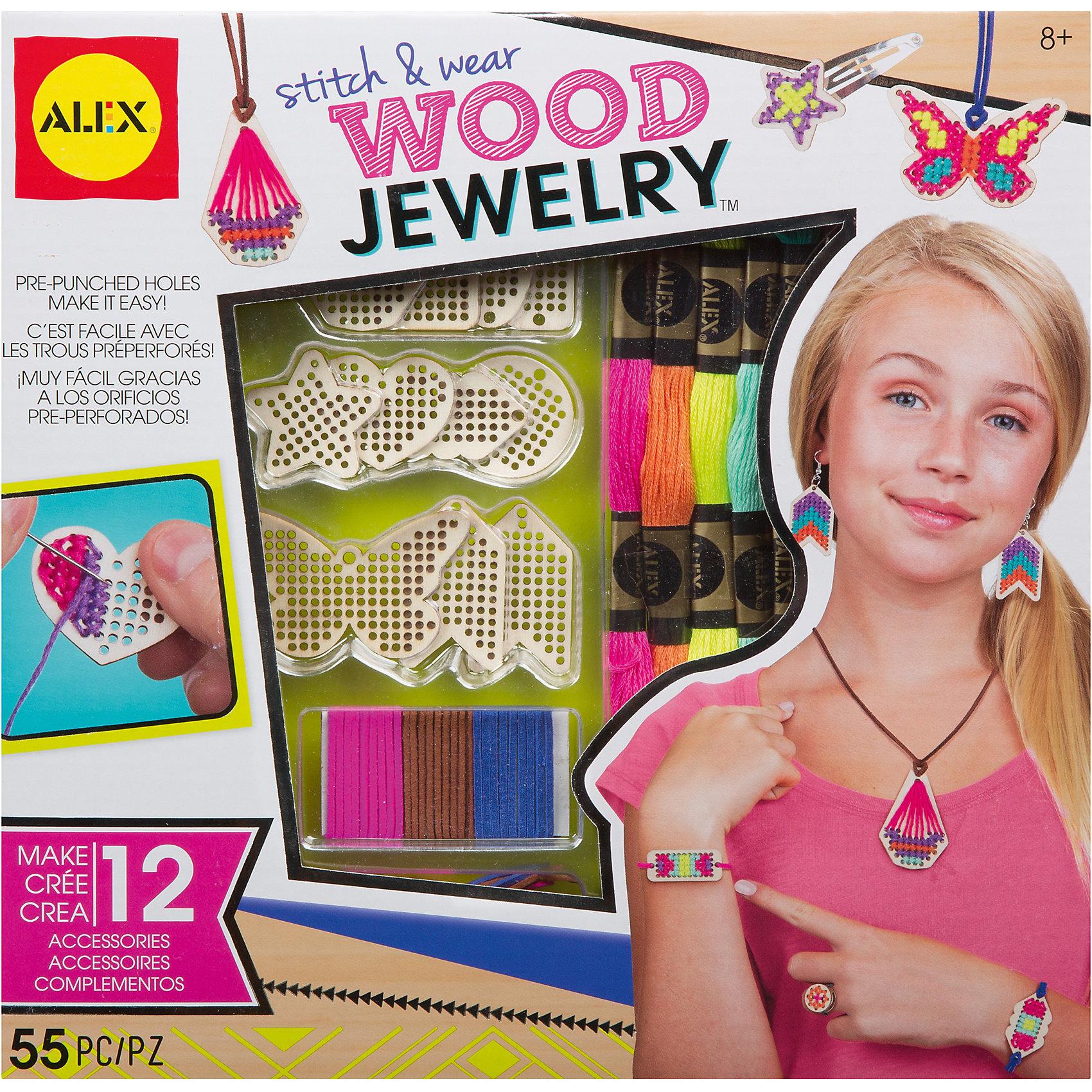 Набор для создания украшений из дерева, AlexРукоделие<br>Сделай ожерелье, серьги, браслет и кольцо из деревянных шармов и изделий. Рекомендовано для детей от 8 лет и старше.<br>В наборе:  12 деревянных шармов-заготовок, 4 деревянные бусины, 6 разноцветных нитей, 11 шнурков, 2 швейные иглы, 2 крючка для сережек, 12 пружинок, и простые инструкции.<br><br>Ширина мм: 260<br>Глубина мм: 160<br>Высота мм: 270<br>Вес г: 233<br>Возраст от месяцев: 96<br>Возраст до месяцев: 2147483647<br>Пол: Унисекс<br>Возраст: Детский<br>SKU: 6688678