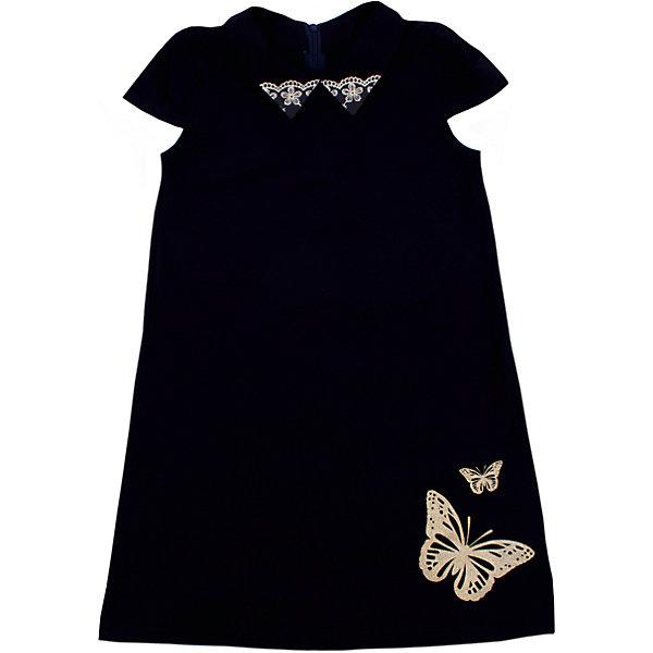 Платье для девочки АпрельПлатья и сарафаны<br>Характеристики товара:<br><br>• цвет: тёмно-синий<br>• состав: хлопок 92%, лайкра 8%<br>• сезон: лето<br>• особенности платья: повседневное<br>• длина платья: миди<br>• декорировано кружевом<br>• короткие рукава<br>• страна бренда: Российская Федерация<br>• страна производства: Российская Федерация<br><br>Повседневное платье для девочки. Платье с коротким рукавом свободного кроя. Платье с рисунком в виде бабочки.<br><br>Платье для девочки Апрель можно купить в нашем интернет-магазине.<br><br>Ширина мм: 236<br>Глубина мм: 16<br>Высота мм: 184<br>Вес г: 177<br>Цвет: синий<br>Возраст от месяцев: 60<br>Возраст до месяцев: 72<br>Пол: Женский<br>Возраст: Детский<br>Размер: 116,146,140,134,128,122<br>SKU: 6713632
