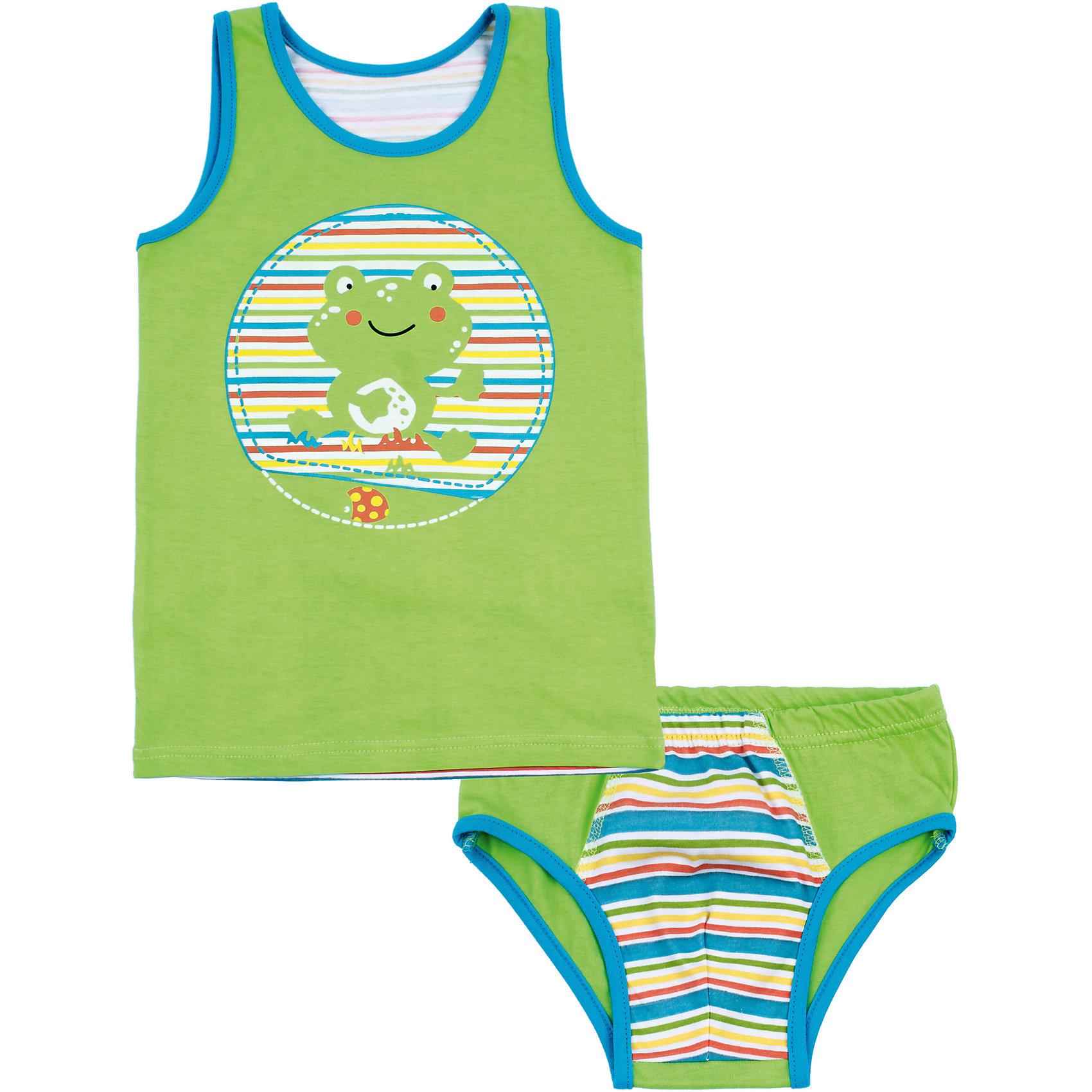 Комплект: майка и трусы для мальчика АпрельНижнее бельё<br>Характеристики товара:<br><br>• цвет: зеленый<br>• состав: хлопок 100%<br>• комплектация: майка, трусы<br>• декорирован принтом<br>• мягкая окантовка<br>• швы не натирают<br>• натуральный материал<br>• позволяет телу дышать<br>• гипоаллергенная ткань<br>• страна бренда: Российская Федерация<br>• страна производства: Российская Федерация<br><br>Комплект нижнего белья для мальчика. Майка с принтов виде лягушонка. Спинка майки в полоску. Комплект с мягкой окантовкой краев.<br><br>Комплект: майка и трусы для мальчика Апрель можно купить в нашем интернет-магазине.<br><br>Ширина мм: 196<br>Глубина мм: 10<br>Высота мм: 154<br>Вес г: 152<br>Цвет: голубой<br>Возраст от месяцев: 48<br>Возраст до месяцев: 60<br>Пол: Мужской<br>Возраст: Детский<br>Размер: 110,92,98,104<br>SKU: 6714728