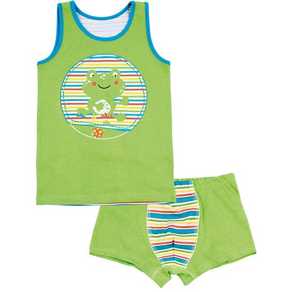 Комплект: майка и трусы для мальчика АпрельНижнее бельё<br>Характеристики товара:<br><br>• цвет: зеленый<br>• состав: хлопок 100%<br>• комплектация: майка, трусы<br>• декорирован принтом<br>• мягкая окантовка<br>• швы не натирают<br>• натуральный материал<br>• позволяет телу дышать<br>• гипоаллергенная ткань<br>• страна бренда: Российская Федерация<br>• страна производства: Российская Федерация<br><br>Комплект нижнего белья для мальчика. Зеленая майка с принтом в виде лягушонка, спинка в полоску. Комплект с мягкой обработкой краев.<br><br>Комплект: майка и трусы для мальчика Апрель можно купить в нашем интернет-магазине.<br><br>Ширина мм: 196<br>Глубина мм: 10<br>Высота мм: 154<br>Вес г: 152<br>Цвет: зеленый<br>Возраст от месяцев: 48<br>Возраст до месяцев: 60<br>Пол: Мужской<br>Возраст: Детский<br>Размер: 110,86,104,98,92<br>SKU: 6714782