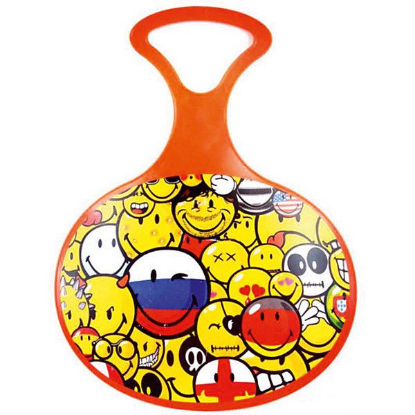 Ледянка Смайли, оранжеваяЛедянки<br>Характеристики:<br><br>• возраст: от 2 лет;<br>• материал: пластик;<br>• ручки по бокам<br>• размер упаковки: 59х69х6 см;<br>• вес упаковки: 790 гр.;<br>• страна производитель: Россия.<br><br>Ледянка Смайли оранжевая отлично подойдет для активного времяпрепровождения и игр зимой на свежем воздухе. Она предназначена для скоростного спуска со снежных и ледяных горок.<br><br>Ледянка имеет округлую форму и напоминает овальную тарелку. Такая форма позволяет комфортно расположиться на ледянке и развить хорошую скорость. Ледянка украшена изображением с термопечатью.<br><br>Ледянку Смайли оранжевую можно приобрести в нашем интернет-магазине.<br>Ширина мм: 590; Глубина мм: 590; Высота мм: 60; Вес г: 790; Возраст от месяцев: 24; Возраст до месяцев: 120; Пол: Унисекс; Возраст: Детский; SKU: 6718737;