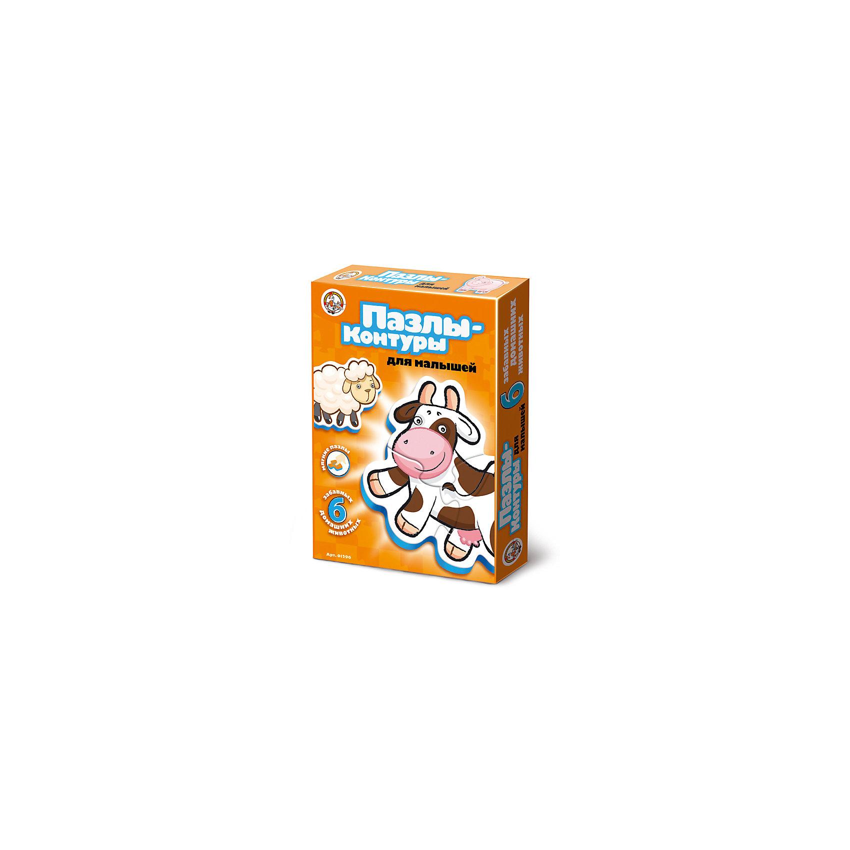 Пазлы-контуры Домашние животные, Десятое королевствоПазлы для малышей<br>Характеристики:<br><br>• возраст: от 2 лет<br>• количество деталей: 16<br>• материалы: вспененный полимер, картон<br>• упаковка: картонная коробка<br>• размер упаковки: 27,5х20х4 см.<br>• вес: 138 гр.<br><br>Пазлы-контуры, выполненные из экологически чистых материалов, разработаны для самых маленьких. Из крупных мягких деталей пазла ребенок соберет 6 фигурок животных: цыпленка и свинью из двух частей, щенка, корову, кота и овечку из трех. <br><br>Элементы пазла плотно и надежно фиксируются между собой, что позволит малышу играть готовыми фигурками. Собирая пазл, ребенок научится сопоставлять часть и целое, концентрировать внимание и доводить начатое дело до конца.<br><br>Пазлы-контуры Домашние животные, Десятое королевство можно купить в нашем интернет-магазине.<br><br>Ширина мм: 280<br>Глубина мм: 195<br>Высота мм: 20<br>Вес г: 158<br>Возраст от месяцев: 24<br>Возраст до месяцев: 2147483647<br>Пол: Унисекс<br>Возраст: Детский<br>SKU: 6723906