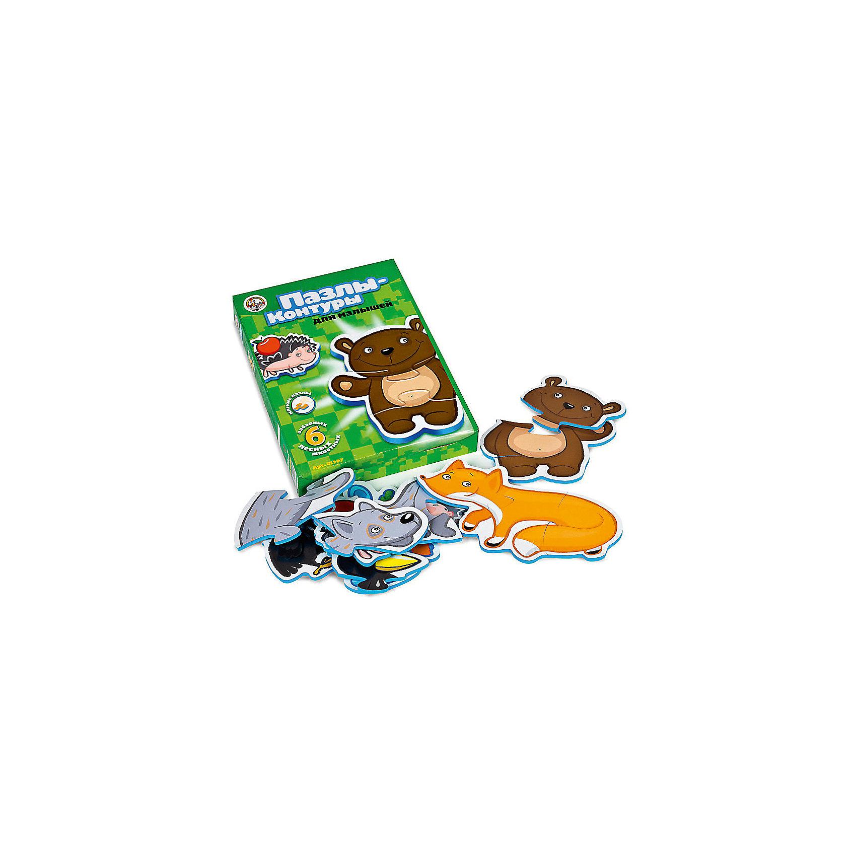 Пазлы-контуры Лесные животные, Десятое королевствоПазлы для малышей<br>Характеристики:<br><br>• возраст: от 2 лет<br>• количество деталей: 15<br>• материалы: вспененный полимер, картон<br>• упаковка: картонная коробка<br>• размер упаковки: 27,5х20х4 см.<br>• вес: 138 гр.<br><br>Пазлы-контуры, выполненные из экологически чистых материалов, разработаны для самых маленьких. Из крупных мягких деталей пазла ребенок соберет 6 фигурок животных: ворона, ежика и зайца из двух частей, медведя, лису и волка из трех. <br><br>Элементы пазла плотно и надежно фиксируются между собой, что позволит малышу играть готовыми фигурками. Собирая пазл, ребенок научится сопоставлять часть и целое, концентрировать внимание и доводить начатое дело до конца.<br><br>Пазлы-контуры Лесные животные, Десятое королевство можно купить в нашем интернет-магазине.<br><br>Ширина мм: 280<br>Глубина мм: 195<br>Высота мм: 20<br>Вес г: 158<br>Возраст от месяцев: 24<br>Возраст до месяцев: 2147483647<br>Пол: Унисекс<br>Возраст: Детский<br>SKU: 6723907