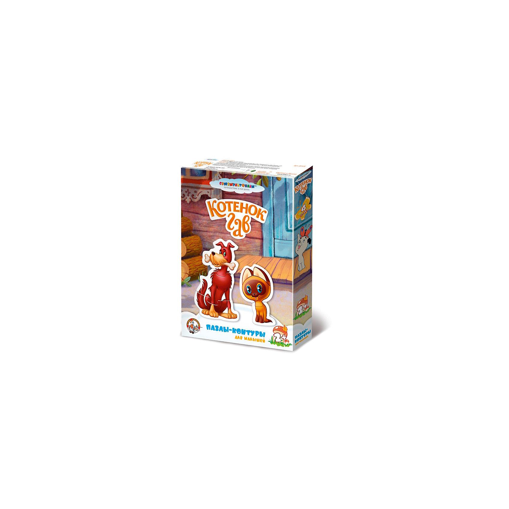 Пазлы-контуры Котенок Гав, Десятое королевствоПазлы для малышей<br>Характеристики:<br><br>• возраст: от 2 лет<br>• количество деталей: 10<br>• материалы: вспененный полимер, картон<br>• упаковка: картонная коробка<br>• размер упаковки: 278х198х38 мм.<br>• вес: 128 гр.<br><br>Пазлы-контуры, выполненные из экологически чистых материалов, разработаны для самых маленьких. Из крупных мягких деталей пазла ребенок соберет четырех героев мультфильма «Котенок Гав»: котенка по имени Гав и его друга щенка Шарика из двух частей, хитрого чёрного кота и сердитого дворового пса из трех. <br><br>Элементы пазла плотно и надежно фиксируются между собой, что позволит малышу играть готовыми фигурками. Собирая пазл, ребенок научится сопоставлять часть и целое, концентрировать внимание и доводить начатое дело до конца.<br><br>Пазлы-контуры Котенок Гав, Десятое королевство можно купить в нашем интернет-магазине.<br><br>Ширина мм: 275<br>Глубина мм: 200<br>Высота мм: 40<br>Вес г: 171<br>Возраст от месяцев: 24<br>Возраст до месяцев: 2147483647<br>Пол: Унисекс<br>Возраст: Детский<br>SKU: 6723908