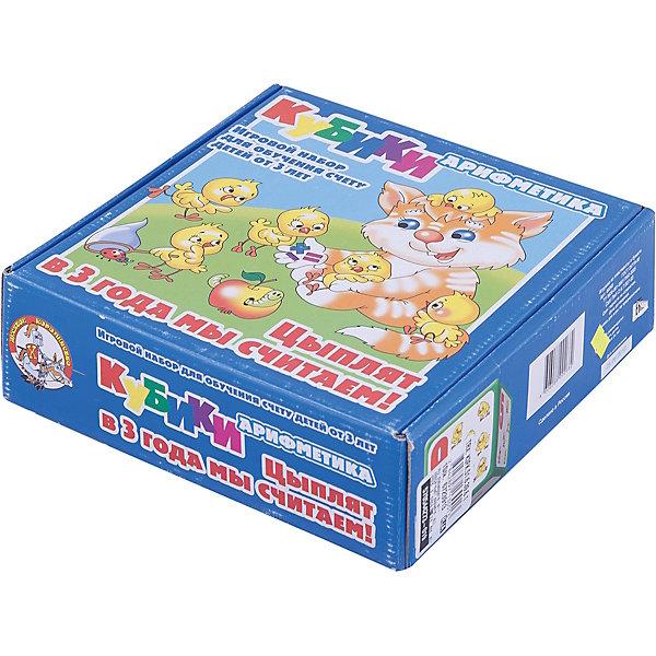 Кубики  Арифметика. Цыплят в 3 года мы считаем, 9 элементов, Десятое королевствоРазвивающие игрушки<br>Характеристики:<br><br>• для детей в возрасте: от 3 лет<br>• в наборе: 9 кубиков<br>• размер кубика: 8х8 см.<br>• материал: выдувная пластмасса<br>• размер упаковки: 25,5х24,5х8,5 см.<br>• вес: 510 гр.<br><br>Кубики «Арифметика. Цыплят в 3 года мы считаем» предназначены для самых маленьких. В наборе представлено 9 больших красочных кубиков с нанесенными на грани картинками с изображением цифр и цыплят, количество которых соответствует цифре, а также математических знаков. <br><br>Играя с кубиками, малыш научится счету, познакомится с математическими знаками и простыми арифметическими действиями, а также научится сопоставлять цифру с количеством элементов на картинке.<br><br>Размер кубиков оптимален для маленьких детских рук. Кубики не имеют острых углов. Они легкие и прочные. Кубики изготовлены из высококачественной выдувной пластмассы.<br><br>Кубики Арифметика. Цыплят в 3 года мы считаем, 9 элементов, Десятое королевство можно купить в нашем интернет-магазине.<br><br>Ширина мм: 255<br>Глубина мм: 245<br>Высота мм: 85<br>Вес г: 571<br>Возраст от месяцев: 36<br>Возраст до месяцев: 2147483647<br>Пол: Унисекс<br>Возраст: Детский<br>SKU: 6723913