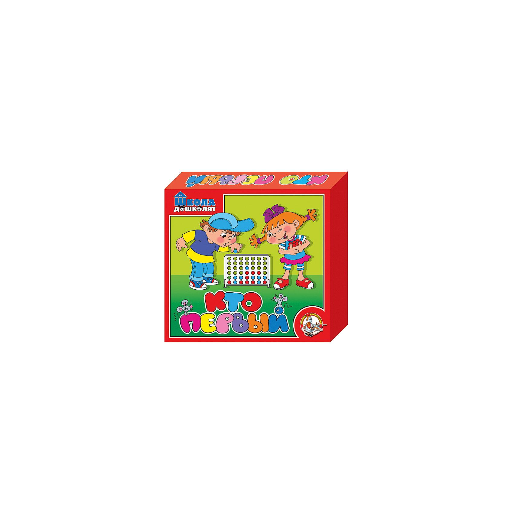 Игра настольная Кто первый, Десятое королевствоСтратегические настольные игры<br>Характеристики:<br><br>• возраст: от 5 лет<br>• в наборе: планшет, держатели - 2 шт., фишки двух цветов - 42 шт.<br>• количество игроков: 2 человека<br>• материал: пластик<br>• размер упаковки: 23x20x4 см.<br>• вес: 280 гр.<br><br>Настольная развлекательная игра с элементами логики «Кто первый» построена по принципу «Крестики-нолики». Она рассчитана на двух игроков. Цель игры - выиграть, выстроив в ряд четыре фишки своего цвета в любом из направлений - горизонтальном, вертикальном или по диагонали. <br><br>Игра развивает мелкую моторику рук, пространственное мышление, внимание, усидчивость, логику. Элементы игры выполнены из качественного пластика.<br><br>Игру настольную Кто первый, Десятое королевство можно купить в нашем интернет-магазине.<br><br>Ширина мм: 230<br>Глубина мм: 200<br>Высота мм: 35<br>Вес г: 238<br>Возраст от месяцев: 60<br>Возраст до месяцев: 2147483647<br>Пол: Унисекс<br>Возраст: Детский<br>SKU: 6723914
