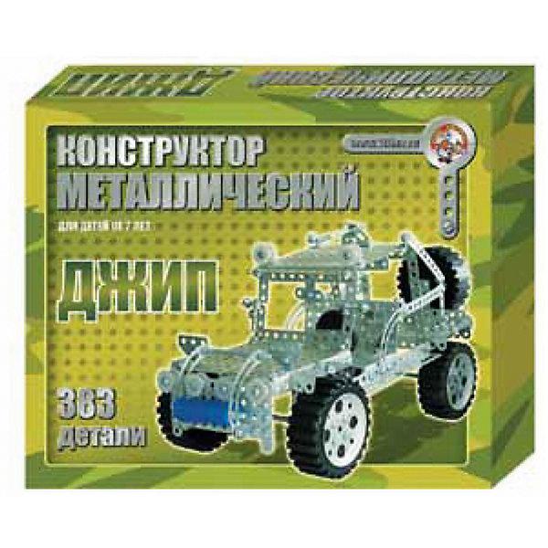 Металлический конструктор Джип, 383 детали, Десятое королевствоМеталлические конструкторы<br>Характеристики:<br><br>• возраст: от 7 лет<br>• в наборе: отвертка, гаечный ключ, 26 видов различных деталей, инструкция<br>• количество элементов: 383 шт.<br>• материал: металл, пластик<br>• упаковка: картонная коробка<br>• детали конструктора разложены по отдельным ячейкам<br>• размер упаковки: 27х34х6 см.<br>• вес: 1,3 кг.<br><br>Из деталей конструктора от российского производителя «Десятое королевство» ребенок соберет мощный внедорожник с крутящимися колесами. Детали выполнены из легкого металла, при необходимости детали можно сгибать. <br><br>Кроме металлических деталей в набор входят пластиковые и пластмассовые детали. На оборотной стороне упаковки представлены фотографии модели джипа в разных ракурсах, что оказывает дополнительную помощь при сборке. Детали конструктора можно использовать для создания собственных моделей машин. <br><br>Занятия с конструктором развивают внимательность, наглядно-образное и логическое мышление, мелкую моторику, умение следовать инструкции, усидчивость и творческие способности.<br><br>Металлический конструктор Джип, 383 детали, Десятое королевство можно купить в нашем интернет-магазине.<br><br>Ширина мм: 345<br>Глубина мм: 270<br>Высота мм: 60<br>Вес г: 1288<br>Возраст от месяцев: 84<br>Возраст до месяцев: 2147483647<br>Пол: Мужской<br>Возраст: Детский<br>SKU: 6723915