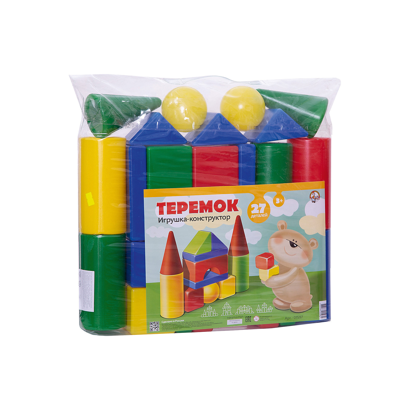 Набор Теремок, 27 элементов, Десятое королевствоКонструкторы для малышей<br>Характеристики:<br><br>• возраст: от 3 лет<br>• в наборе: кубик 4 шт. (8х8 см), большой цилиндр 4 шт. (?8х16 см), малый цилиндр 2 шт. (?8х8 см), конус 2 шт. (?8х13 см), треугольная призма 7 шт.(8х8 см), прямоугольная призма 4 шт. (16х8х3 см), шар 2 шт. (?8 см), арка 2 шт. (16х8х8 см)<br>• количество элементов: 27<br>• материал: выдувная пластмасса<br>• упаковка: сумка ПВХ<br>• размер упаковки: 50х43х8 см.<br>• вес: 880 гр.<br><br>Конструктор «Теремок» от российского производителя Десятое королевство предназначен для детей дошкольного возраста. Он состоит из ярких цветных фигур различной формы. Из элементов конструктора малыш сможет построить самый настоящий сказочный теремок с крышей и башенками, а также — множество других сооружений. <br><br>Все элементы изготовлены из прочного и безопасного пластика. Внутри они полые, поэтому легкие и подходят даже для самых маленьких строителей. Конструктор упакован в прозрачную сумку. Игра с конструктором развивает у детей мелкую моторику, логическое мышление, цветовое восприятие.<br><br>Набор Теремок, 27 элементов, Десятое королевство можно купить в нашем интернет-магазине.<br><br>Ширина мм: 430<br>Глубина мм: 500<br>Высота мм: 80<br>Вес г: 880<br>Возраст от месяцев: 36<br>Возраст до месяцев: 2147483647<br>Пол: Унисекс<br>Возраст: Детский<br>SKU: 6723921