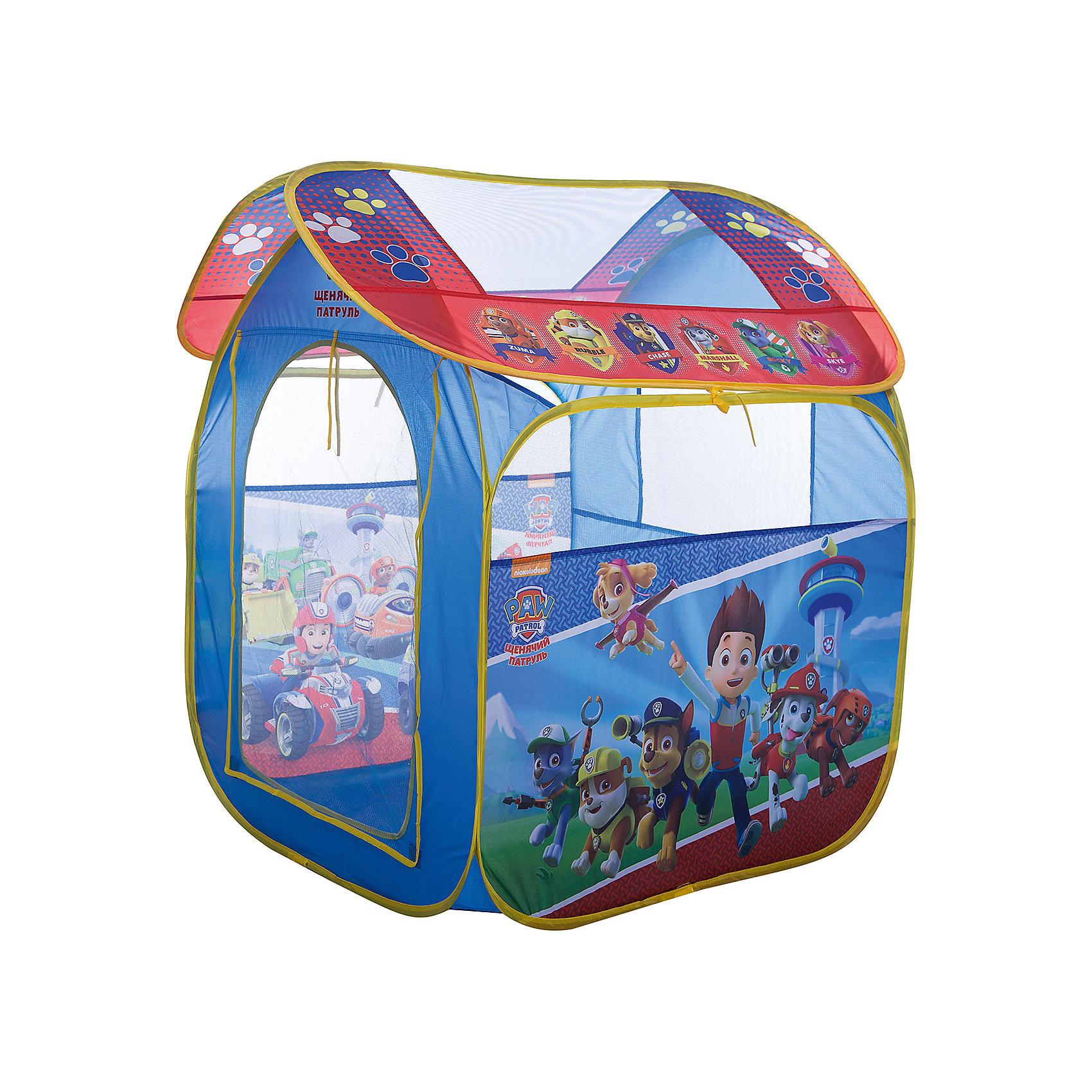 Игровая палатка  Щенячий патруль, 83*100*80 см, РосмэнИгровые центры<br>Характеристики:<br><br>• для детей в возрасте: от 3 лет<br>• размер: 83х100х80 см.<br>• материал: полиэстер, пластик<br>• упаковка: чехол<br>• размер упаковки: 39х39х4 см.<br>• вес: 748 гр.<br><br>Красочная игровая палатка «Щенячий патруль» предназначена для игр дома и на улице. Она состоит из 2 частей (основного корпуса и крыши), каждая из которых оснащена сетчатыми окошками для вентиляции. Входной полог закрывается на липучки. На две стороны и крышу нанесены изображения любимых персонажей. <br><br>Благодаря удобному самораскладывающемуся каркасу, палатку можно легко и быстро складывать и раскладывать. В сложенном виде палатка компактна и не занимает много места. Палатка изготовлена из полиэстера, каркас пластиковый. Товар сертифицирован.<br><br>Игровую палатку Щенячий патруль, 83*100*80 см, Росмэн можно купить в нашем интернет-магазине.<br><br>Ширина мм: 390<br>Глубина мм: 390<br>Высота мм: 55<br>Вес г: 748<br>Возраст от месяцев: 36<br>Возраст до месяцев: 2147483647<br>Пол: Мужской<br>Возраст: Детский<br>SKU: 6724881