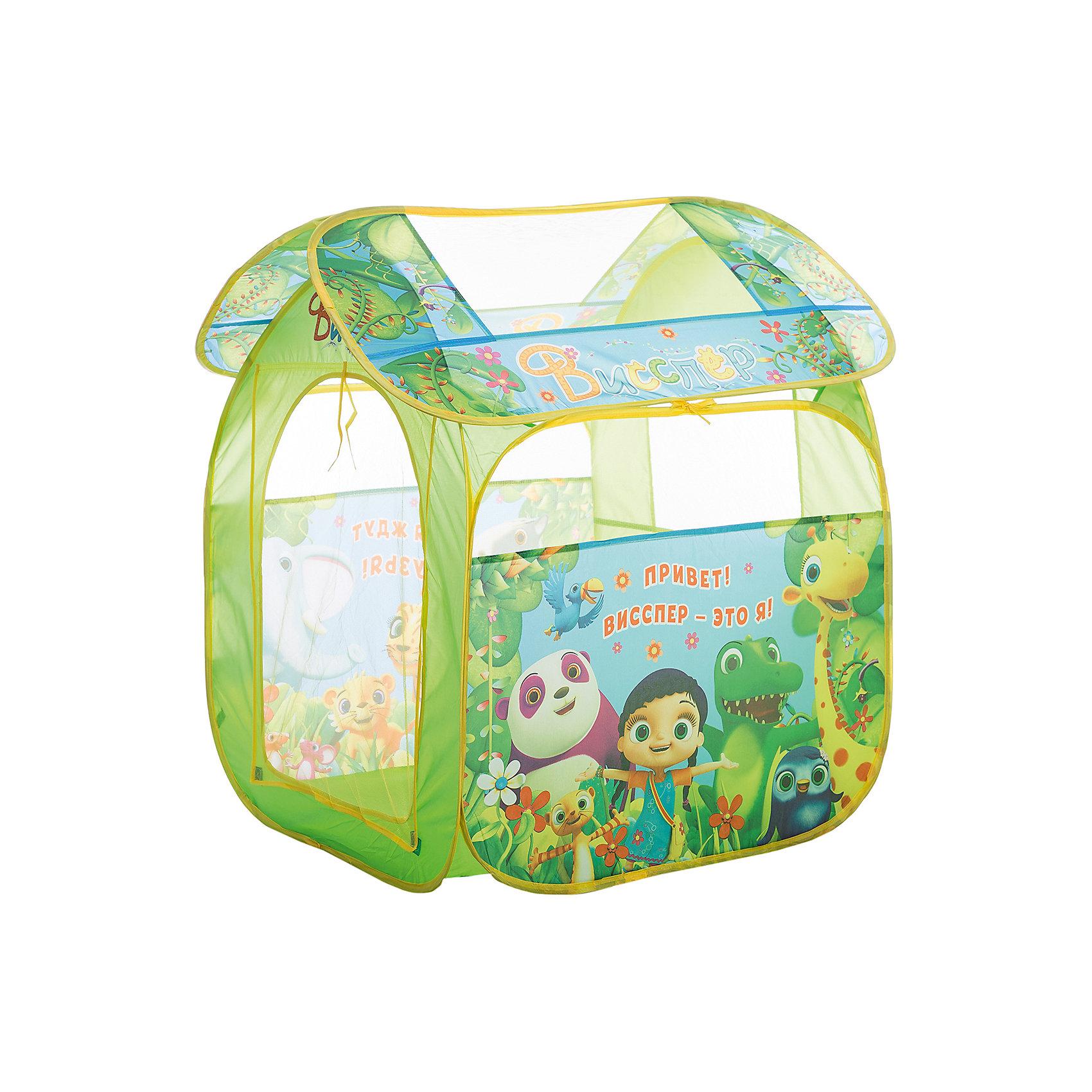 Игровая палатка Висспер, 83*100*80 см, РосмэнИгровые центры<br>Характеристики:<br><br>• для детей в возрасте: от 3 лет<br>• размер: 83х100х80 см.<br>• материал: полиэстер, пластик<br>• упаковка: чехол<br>• размер упаковки: 39х39х4 см.<br>• вес: 748 гр.<br><br>Красочная игровая палатка «Висспер» предназначена для игр дома и на улице. Она состоит из 2 частей (основного корпуса и крыши), каждая из которых оснащена сетчатыми окошками для вентиляции. Входной полог закрывается на липучки. На две стороны и крышу нанесены изображения любимых персонажей. <br><br>Благодаря удобному самораскладывающемуся каркасу, палатку можно легко и быстро складывать и раскладывать. В сложенном виде палатка компактна и не занимает много места. Палатка изготовлена из полиэстера, каркас пластиковый.<br><br>Игровую палатку Висспер, 83*100*80 см, Росмэн можно купить в нашем интернет-магазине.<br><br>Ширина мм: 390<br>Глубина мм: 390<br>Высота мм: 55<br>Вес г: 748<br>Возраст от месяцев: 36<br>Возраст до месяцев: 2147483647<br>Пол: Женский<br>Возраст: Детский<br>SKU: 6724885