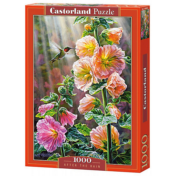 Пазл Castorland После дождя, 1000 деталейПазлы классические<br>Характеристики:<br><br>• возраст: от 9 лет<br>• количество деталей: 1000 шт.<br>• размер собранного пазла: 47х68 см.<br>• размер 1 элемента пазла: 1,8х1,8 см.<br>• материал: картон<br>• упаковка: картонная коробка<br>• размер упаковки: 25x5x35 см.<br>• вес: 500 гр.<br>• страна обладатель бренда: Польша<br><br>Пазл «После дождя» от Castorland (Касторленд) отличается высоким качеством, высоким уровнем полиграфии, насыщенными цветами и идеальной стыковкой элементов. Пазл «После дождя» предназначен для сборки детьми среднего и старшего возраста и, конечно, для взрослых. Залитые лучами солнца цветы, зеленая листва и порхающая над ними колибри.<br><br>Пазл После дождя, 1000 деталей, Castorland (Касторленд) можно купить в нашем интернет-магазине.<br>Ширина мм: 350; Глубина мм: 250; Высота мм: 50; Вес г: 500; Возраст от месяцев: 108; Возраст до месяцев: 2147483647; Пол: Унисекс; Возраст: Детский; SKU: 6725072;