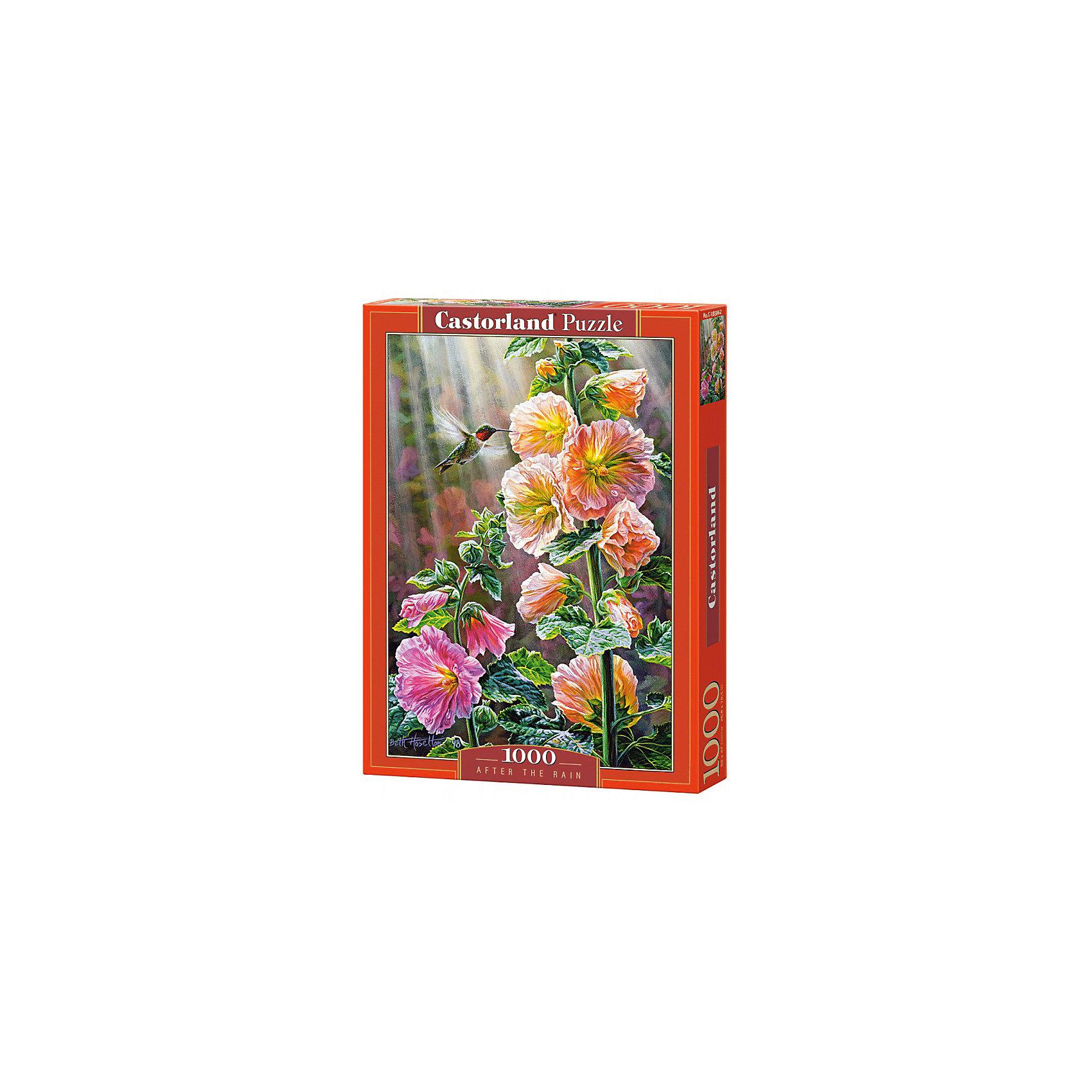 Пазл Castorland После дождя, 1000 деталейКлассические пазлы<br>Характеристики:<br><br>• возраст: от 9 лет<br>• количество деталей: 1000 шт.<br>• размер собранного пазла: 47х68 см.<br>• размер 1 элемента пазла: 1,8х1,8 см.<br>• материал: картон<br>• упаковка: картонная коробка<br>• размер упаковки: 25x5x35 см.<br>• вес: 500 гр.<br>• страна обладатель бренда: Польша<br><br>Пазл «После дождя» от Castorland (Касторленд) отличается высоким качеством, высоким уровнем полиграфии, насыщенными цветами и идеальной стыковкой элементов. Пазл «После дождя» предназначен для сборки детьми среднего и старшего возраста и, конечно, для взрослых. Залитые лучами солнца цветы, зеленая листва и порхающая над ними колибри.<br><br>Пазл После дождя, 1000 деталей, Castorland (Касторленд) можно купить в нашем интернет-магазине.<br><br>Ширина мм: 350<br>Глубина мм: 250<br>Высота мм: 50<br>Вес г: 500<br>Возраст от месяцев: 108<br>Возраст до месяцев: 2147483647<br>Пол: Унисекс<br>Возраст: Детский<br>SKU: 6725072