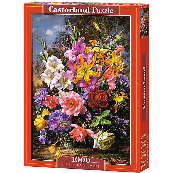 Пазл Castorland Ваза с цветами, 1000 деталейПазлы классические<br>Характеристики:<br><br>• возраст: от 9 лет<br>• количество деталей: 1000 шт.<br>• размер собранного пазла: 47х68 см.<br>• материал: картон<br>• упаковка: картонная коробка<br>• размер упаковки: 25x5x35 см.<br>• вес: 500 гр.<br>• страна обладатель бренда: Польша<br><br>Пазл «Ваза с цветами» от Castorland (Касторленд) отличается высоким качеством, высоким уровнем полиграфии, насыщенными цветами и идеальной стыковкой элементов. Из 1000 элементов пазла складывается красивая картина с изображением очаровательного букета цветов. Букет на картине настолько пышный, что закрывает собой вазу, в которой находится.<br><br>Пазл Ваза с цветами, 1000 деталей, Castorland (Касторленд) можно купить в нашем интернет-магазине.<br><br>Ширина мм: 350<br>Глубина мм: 250<br>Высота мм: 50<br>Вес г: 500<br>Возраст от месяцев: 108<br>Возраст до месяцев: 2147483647<br>Пол: Унисекс<br>Возраст: Детский<br>SKU: 6725074