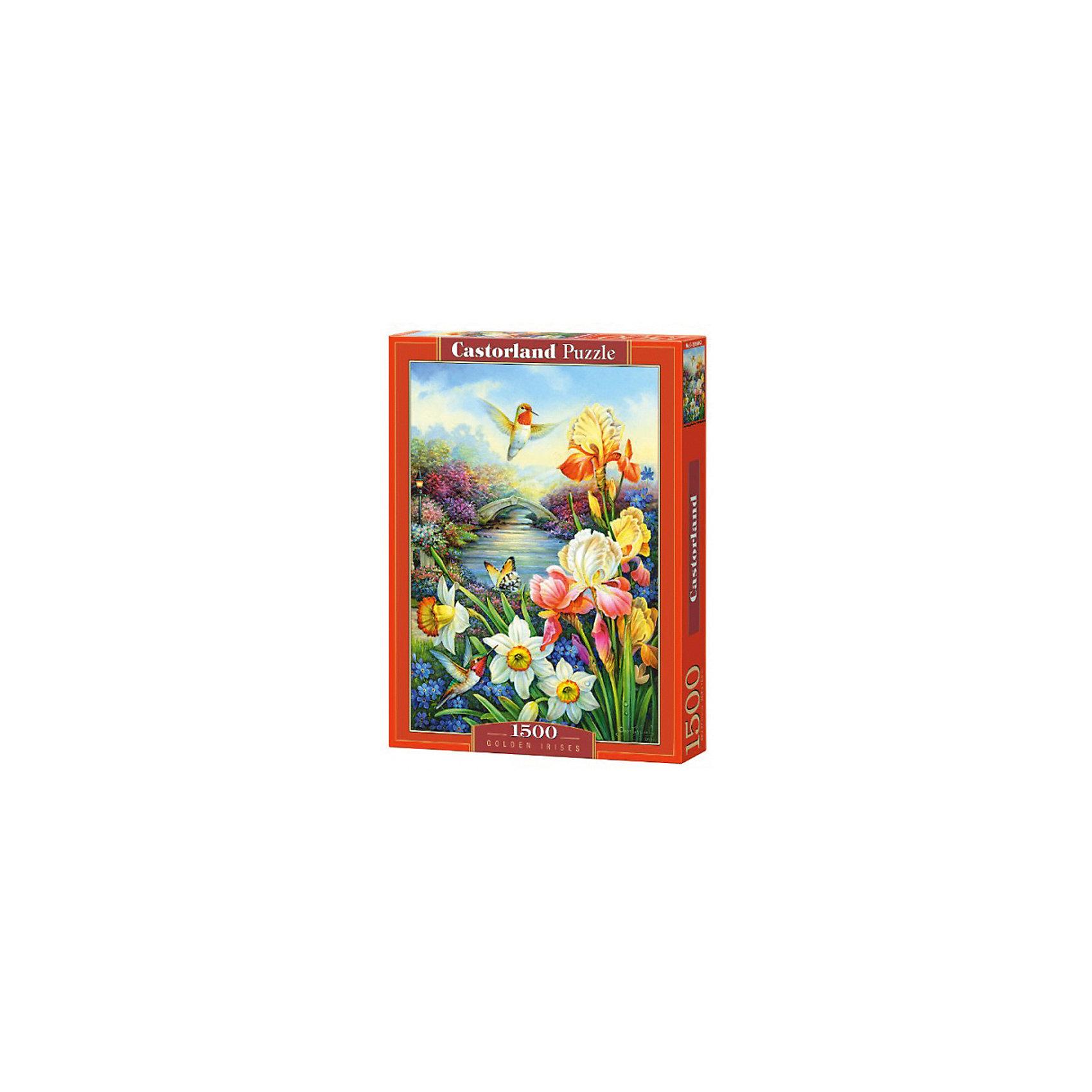 Пазл Castorland Золотые ирисы, 1500 деталейПазлы для детей постарше<br>Характеристики:<br><br>• возраст: от 9 лет<br>• автор: Олег Гаврилов<br>• количество деталей: 1500 шт.<br>• размер собранного пазла: 47х68 см.<br>• материал: картон<br>• упаковка: картонная коробка<br>• размер упаковки: 25x5x35 см.<br>• вес: 600 гр.<br>• страна обладатель бренда: Польша<br><br>Пазл «Золотые ирисы» от Castorland (Касторленд) отличается высоким качеством, высоким уровнем полиграфии, насыщенными цветами и идеальной стыковкой элементов. Из 1500 элементов пазла складывается красивая картина с изображением нежных ирисов и очаровательных нарциссов на фоне голубого неба и реки, берега которой заросли пышными цветами.<br><br>Пазл Золотые ирисы, 1500 деталей, Castorland (Касторленд) можно купить в нашем интернет-магазине.<br><br>Ширина мм: 350<br>Глубина мм: 250<br>Высота мм: 50<br>Вес г: 600<br>Возраст от месяцев: 108<br>Возраст до месяцев: 2147483647<br>Пол: Унисекс<br>Возраст: Детский<br>SKU: 6725078