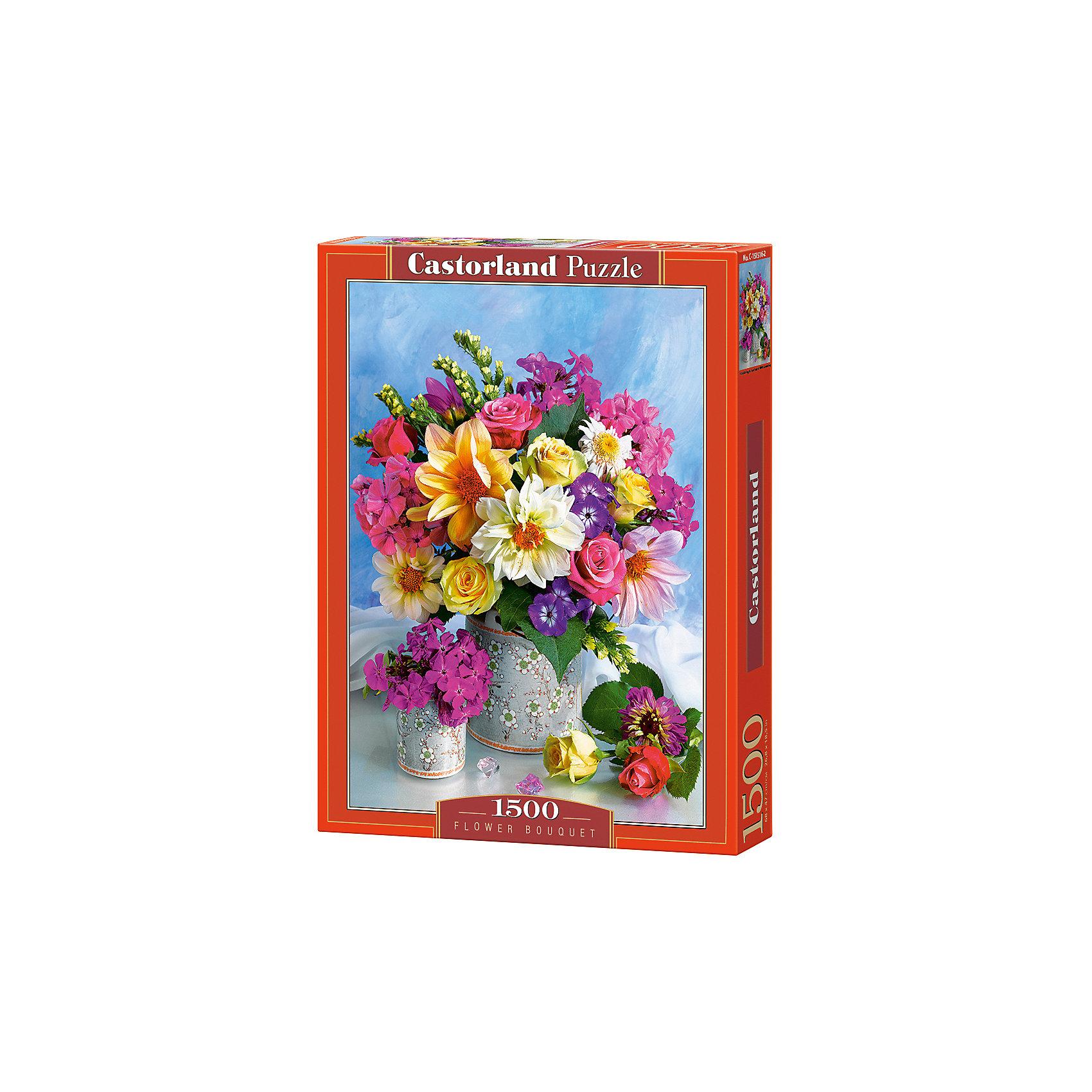 Пазл Castorland Букет цветов, 1500 деталейПазлы для детей постарше<br>Характеристики:<br><br>• возраст: от 9 лет<br>• количество деталей: 1500 шт.<br>• размер собранного пазла: 47х68 см.<br>• материал: картон<br>• упаковка: картонная коробка<br>• размер упаковки: 25x5x35 см.<br>• вес: 600 гр.<br>• страна обладатель бренда: Польша<br><br>Пазл «Букет цветов» от Castorland (Касторленд) отличается высоким качеством, высоким уровнем полиграфии, насыщенными цветами и идеальной стыковкой элементов. Элементы пазла изготовлены из плотного, не расслаивающегося картона. Пазл «Букет цветов» предназначен для сборки детьми среднего и старшего возраста и, конечно, для взрослых. Из 1500 элементов пазла складывается красивая картина с изображением прекрасного букета цветов.<br><br>Пазл Букет цветов, 1500 деталей, Castorland (Касторленд) можно купить в нашем интернет-магазине.<br><br>Ширина мм: 350<br>Глубина мм: 250<br>Высота мм: 50<br>Вес г: 600<br>Возраст от месяцев: 108<br>Возраст до месяцев: 2147483647<br>Пол: Женский<br>Возраст: Детский<br>SKU: 6725079