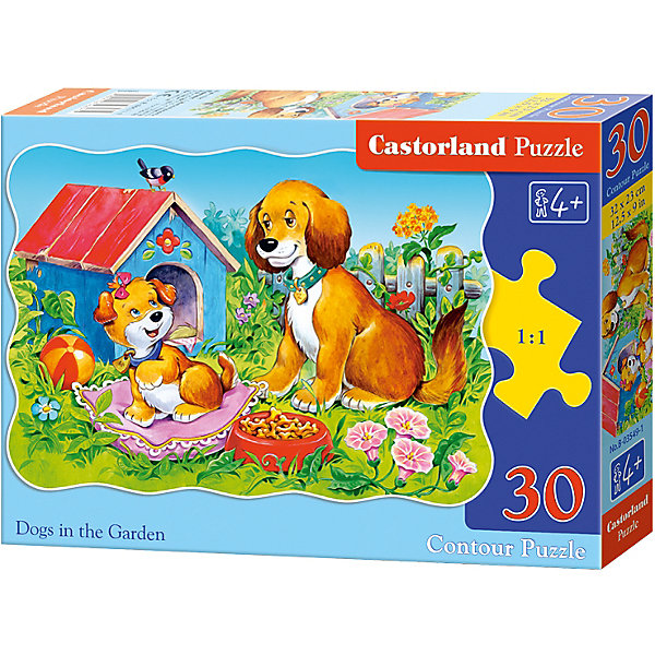 Пазл Castorland Собаки в саду, 30 деталейПазлы для малышей<br>Характеристики:<br><br>• возраст: от 4 лет<br>• количество деталей: 30 шт.<br>• размер собранного пазла: 32х23 см.<br>• материал: картон<br>• упаковка: картонная коробка<br>• размер упаковки: 18x4x13 см.<br>• вес: 150 гр.<br>• страна обладатель бренда: Польша<br><br>Из 30 элементов пазла ребенок соберет милую картинку с изображением собаки, которая наблюдает за шалостями забавного рыжего щенка. Благодаря фигурной форме картинки, процесс сбора элементов в одно изображение будет увлекательным и интересным.<br><br>Пазл Собаки в саду, 30 деталей, Castorland (Касторленд) можно купить в нашем интернет-магазине.<br><br>Ширина мм: 180<br>Глубина мм: 130<br>Высота мм: 40<br>Вес г: 150<br>Возраст от месяцев: 48<br>Возраст до месяцев: 2147483647<br>Пол: Унисекс<br>Возраст: Детский<br>SKU: 6725082