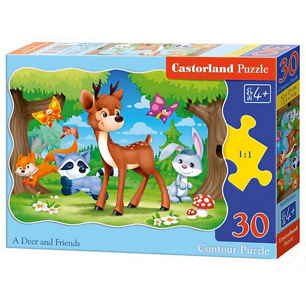 Пазл Castorland Олененок с друзьями, 30 деталейПазлы для малышей<br>Характеристики:<br><br>• возраст: от 4 лет<br>• количество деталей: 30 шт.<br>• размер собранного пазла: 32х23 см.<br>• материал: картон<br>• упаковка: картонная коробка<br>• размер упаковки: 18x4x13 см.<br>• вес: 150 гр.<br>• страна обладатель бренда: Польша<br><br>Из 30 элементов пазла ребенок соберет милую картинку с изображением олененка, который играет на лесной полянке со своими друзьями. Благодаря фигурной форме картинки, процесс сбора элементов в одно изображение будет увлекательным и интересным.<br><br>Пазл Олененок с друзьями, 30 деталей, Castorland (Касторленд) можно купить в нашем интернет-магазине.<br>Ширина мм: 180; Глубина мм: 130; Высота мм: 40; Вес г: 150; Возраст от месяцев: 48; Возраст до месяцев: 2147483647; Пол: Унисекс; Возраст: Детский; SKU: 6725083;