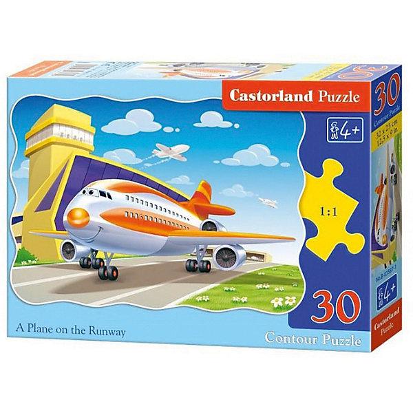 Пазл Castorland Самолет, 30 деталейПазлы для малышей<br>Характеристики:<br><br>• возраст: от 4 лет<br>• количество деталей: 30 шт.<br>• размер собранного пазла: 32х23 см.<br>• материал: картон<br>• упаковка: картонная коробка<br>• размер упаковки: 18x4x13 см.<br>• вес: 150 гр.<br>• страна обладатель бренда: Польша<br><br>Из 30 элементов пазла ребенок соберет милую картинку с изображением веселого, готовящегося к взлету, самолета. Благодаря фигурной форме картинки, процесс сбора элементов в одно изображение будет увлекательным и интересным.<br><br>Пазл Самолет, 30 деталей, Castorland (Касторленд) можно купить в нашем интернет-магазине.<br>Ширина мм: 180; Глубина мм: 130; Высота мм: 40; Вес г: 150; Возраст от месяцев: 48; Возраст до месяцев: 2147483647; Пол: Мужской; Возраст: Детский; SKU: 6725084;