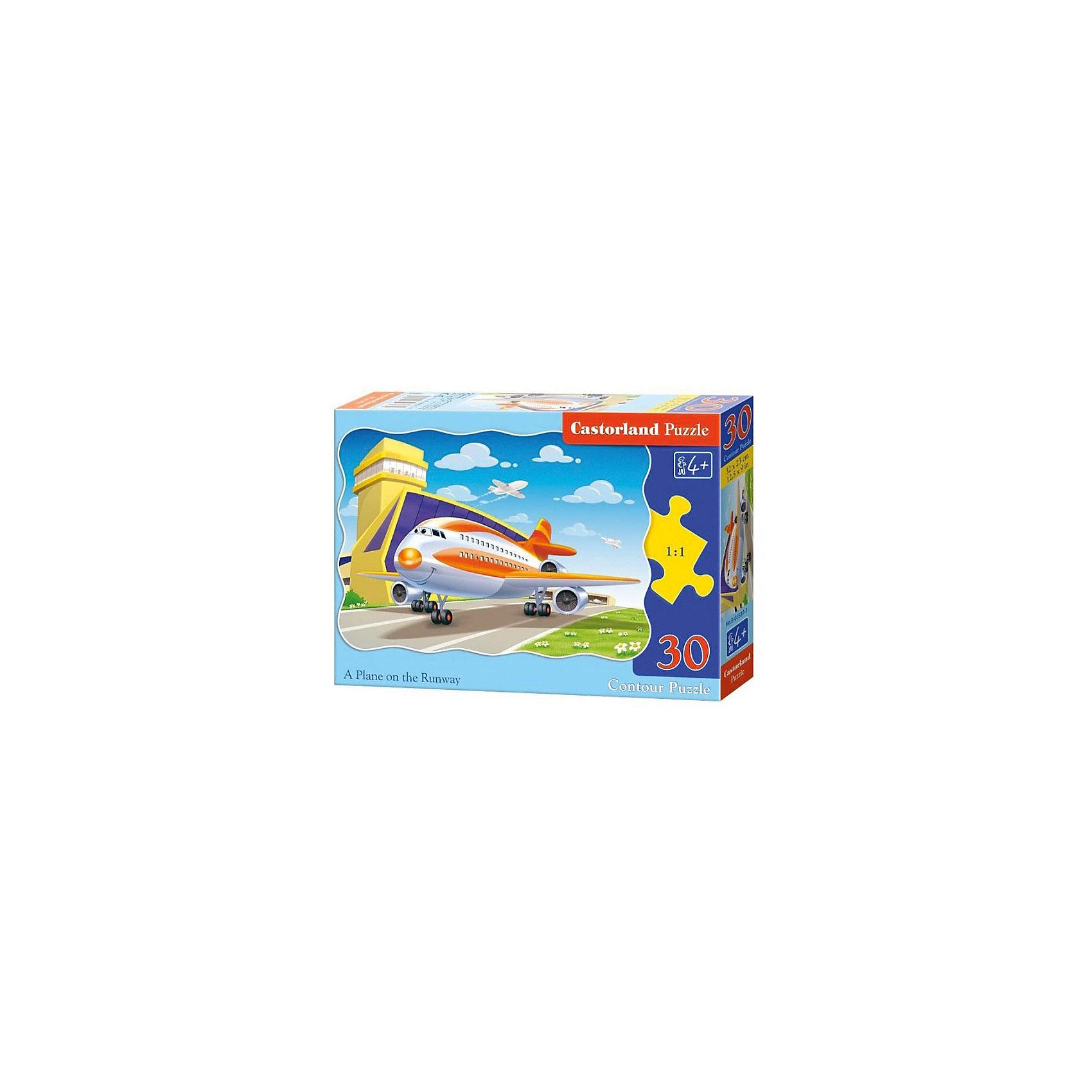 Пазл Castorland Самолет, 30 деталейКлассические пазлы<br>Характеристики:<br><br>• возраст: от 4 лет<br>• количество деталей: 30 шт.<br>• размер собранного пазла: 32х23 см.<br>• материал: картон<br>• упаковка: картонная коробка<br>• размер упаковки: 18x4x13 см.<br>• вес: 150 гр.<br>• страна обладатель бренда: Польша<br><br>Из 30 элементов пазла ребенок соберет милую картинку с изображением веселого, готовящегося к взлету, самолета. Благодаря фигурной форме картинки, процесс сбора элементов в одно изображение будет увлекательным и интересным.<br><br>Пазл Самолет, 30 деталей, Castorland (Касторленд) можно купить в нашем интернет-магазине.<br><br>Ширина мм: 180<br>Глубина мм: 130<br>Высота мм: 40<br>Вес г: 150<br>Возраст от месяцев: 48<br>Возраст до месяцев: 2147483647<br>Пол: Мужской<br>Возраст: Детский<br>SKU: 6725084