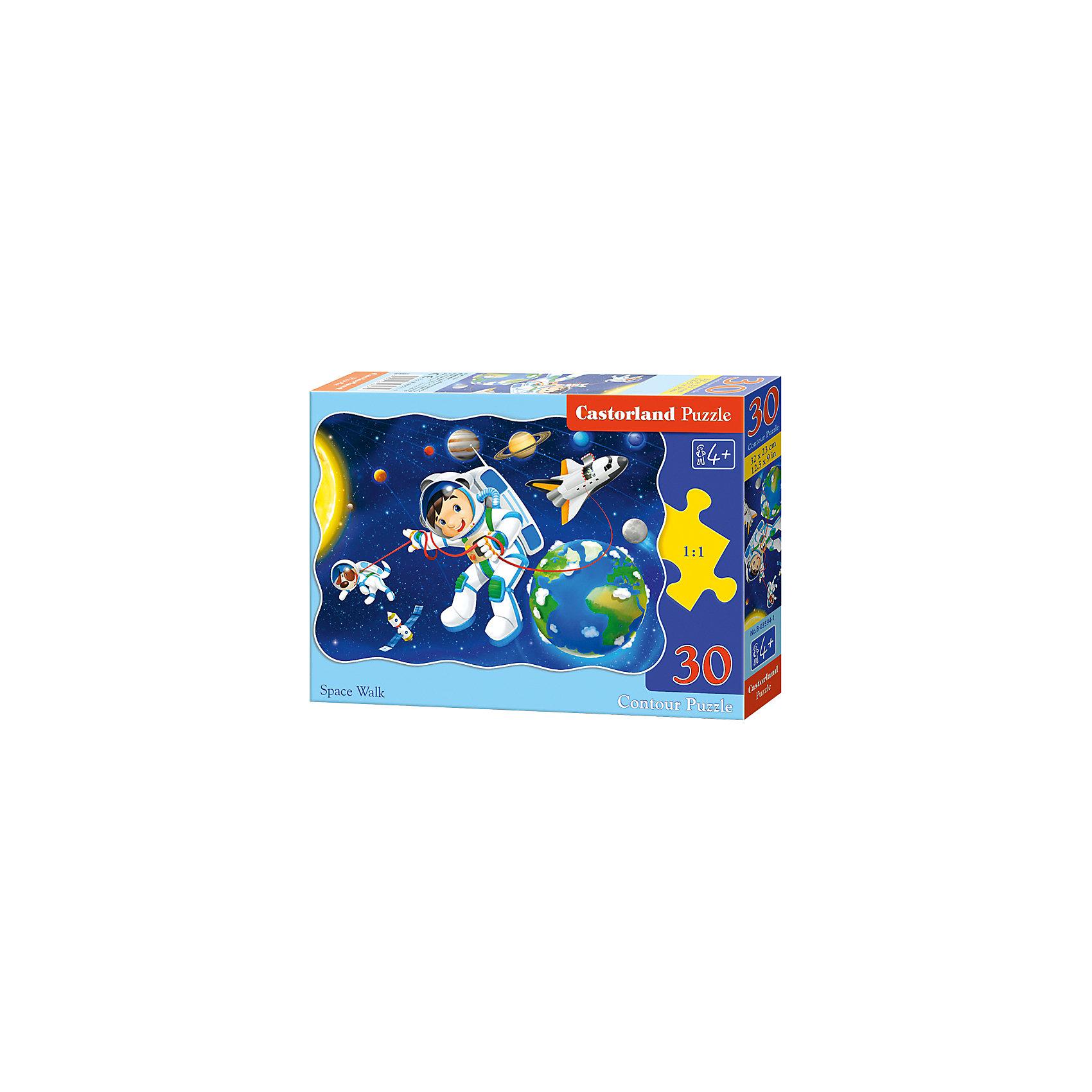 Пазл Castorland Открытый космос, 30 деталейПазлы для малышей<br>Характеристики:<br><br>• возраст: от 4 лет<br>• количество деталей: 30 шт.<br>• размер собранного пазла: 32х23 см.<br>• материал: картон<br>• упаковка: картонная коробка<br>• размер упаковки: 18x4x13 см.<br>• вес: 150 гр.<br>• страна обладатель бренда: Польша<br><br>Из 30 элементов пазла ребенок соберет красочную картинку с изображением юного астронавта и его верного пса в открытом космосе, на фоне космического шаттла, планет Солнечной системы, Солнца и Луны. Благодаря фигурной форме картинки, процесс сбора элементов в одно изображение будет увлекательным и интересным.<br><br>Пазл Открытый космос, 30 деталей, Castorland (Касторленд) можно купить в нашем интернет-магазине.<br><br>Ширина мм: 180<br>Глубина мм: 130<br>Высота мм: 40<br>Вес г: 150<br>Возраст от месяцев: 48<br>Возраст до месяцев: 2147483647<br>Пол: Мужской<br>Возраст: Детский<br>SKU: 6725085