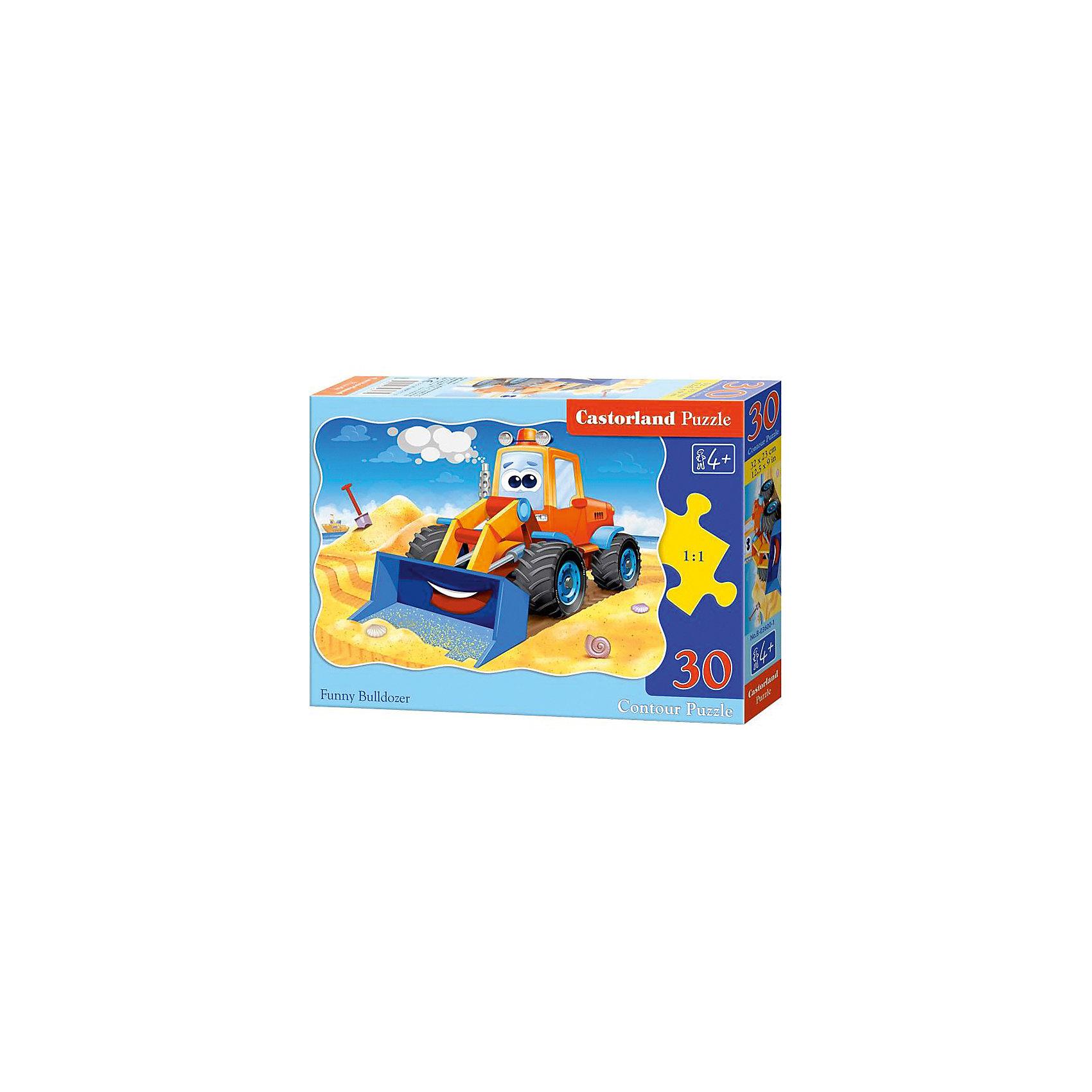 Пазл Castorland Бульдозер, 30 деталейКлассические пазлы<br>Характеристики:<br><br>• возраст: от 4 лет<br>• количество деталей: 30 шт.<br>• размер собранного пазла: 32х23 см.<br>• материал: картон<br>• упаковка: картонная коробка<br>• размер упаковки: 18x4x13 см.<br>• вес: 150 гр.<br>• страна обладатель бренда: Польша<br><br>Из 30 элементов пазла ребенок соберет красочную картинку с изображением веселого бульдозера. Благодаря фигурной форме картинки, процесс сбора элементов в одно изображение будет увлекательным и интересным.<br><br>Пазл Бульдозер, 30 деталей, Castorland (Касторленд) можно купить в нашем интернет-магазине.<br><br>Ширина мм: 180<br>Глубина мм: 130<br>Высота мм: 40<br>Вес г: 150<br>Возраст от месяцев: 48<br>Возраст до месяцев: 2147483647<br>Пол: Мужской<br>Возраст: Детский<br>SKU: 6725086