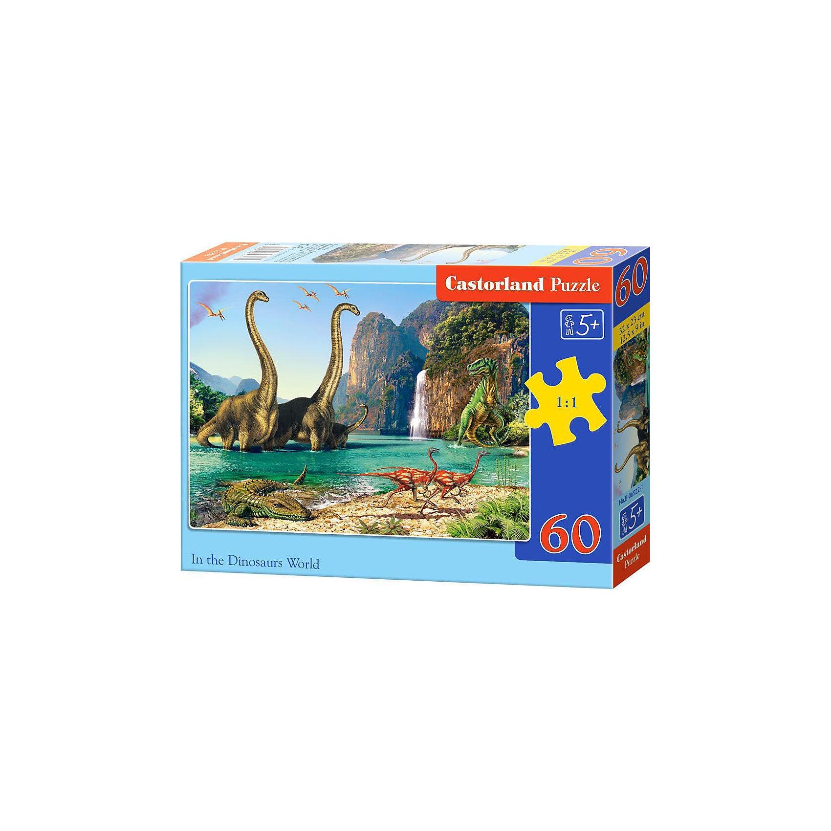 Пазл Castorland Динозавры, 60 деталейКлассические пазлы<br>Характеристики:<br><br>• возраст: от 5 лет<br>• количество деталей: 60 шт.<br>• размер собранного пазла: 32х23 см.<br>• материал: картон<br>• упаковка: картонная коробка<br>• размер упаковки: 18x4x13 см.<br>• вес: 150 гр.<br>• страна обладатель бренда: Польша<br><br>Пазл «Динозавры» от Castorland (Касторленд) отличается высоким качеством, высоким уровнем полиграфии, насыщенными цветами и идеальной стыковкой элементов. Из 60 элементов пазла ребенок соберет красочную картину с изображением доисторических животных обитавших на Земле в Юрский период.<br><br>Пазл Динозавры, 60 деталей, Castorland (Касторленд) можно купить в нашем интернет-магазине.<br><br>Ширина мм: 180<br>Глубина мм: 130<br>Высота мм: 40<br>Вес г: 150<br>Возраст от месяцев: 60<br>Возраст до месяцев: 2147483647<br>Пол: Унисекс<br>Возраст: Детский<br>SKU: 6725087