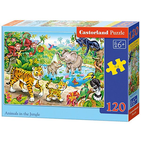 Пазл Castorland Животные в джунглях, 120 деталейПазлы классические<br>Характеристики:<br><br>• возраст: от 6 лет<br>• количество деталей: 120 шт.<br>• размер собранного пазла: 32х23 см.<br>• материал: картон<br>• упаковка: картонная коробка<br>• размер упаковки: 17,5x3,7x13 см.<br>• вес: 300 гр.<br>• страна обладатель бренда: Польша<br><br>Пазл «Животные в джунглях» от Castorland (Касторленд) отличается высоким качеством, высоким уровнем полиграфии, насыщенными цветами и идеальной стыковкой элементов. Из 120 элементов пазла ребенок соберет красочную картинку с изображением забавных обитателей джунглей.<br><br>Пазл Животные в джунглях, 120 деталей, Castorland (Касторленд) можно купить в нашем интернет-магазине.<br>Ширина мм: 175; Глубина мм: 130; Высота мм: 37; Вес г: 300; Возраст от месяцев: 72; Возраст до месяцев: 2147483647; Пол: Унисекс; Возраст: Детский; SKU: 6725092;