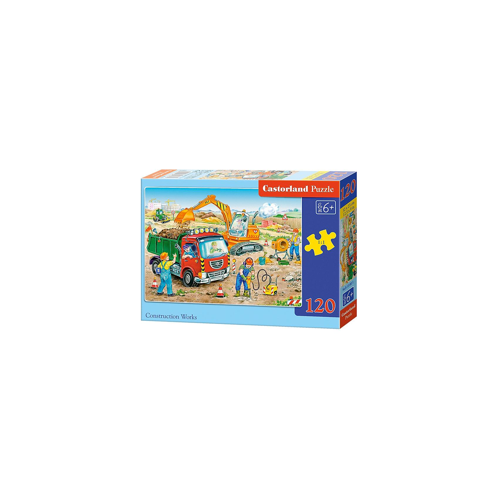 Пазл Castorland Строительные работы, 120 деталейПазлы для детей постарше<br>Характеристики:<br><br>• возраст: от 6 лет<br>• количество деталей: 120 шт.<br>• размер собранного пазла: 32х23 см.<br>• материал: картон<br>• упаковка: картонная коробка<br>• размер упаковки: 17,5x3,7x13 см.<br>• вес: 300 гр.<br>• страна обладатель бренда: Польша<br><br>Пазл «Строительные работы» от Castorland (Касторленд) отличается высоким качеством, высоким уровнем полиграфии, насыщенными цветами и идеальной стыковкой элементов. Из 120 элементов пазла ребенок соберет красочную картинку с изображением различной строительной техники и бригады людей, работающих на стройплощадке.<br><br>Пазл Строительные работы, 120 деталей, Castorland (Касторленд) можно купить в нашем интернет-магазине.<br><br>Ширина мм: 175<br>Глубина мм: 130<br>Высота мм: 37<br>Вес г: 300<br>Возраст от месяцев: 72<br>Возраст до месяцев: 2147483647<br>Пол: Мужской<br>Возраст: Детский<br>SKU: 6725093