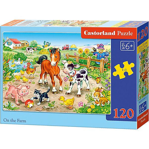 Пазл Castorland На ферме, 120 деталейПазлы для детей постарше<br>Характеристики:<br><br>• возраст: от 6 лет<br>• количество деталей: 120 шт.<br>• размер собранного пазла: 32х23 см.<br>• материал: картон<br>• упаковка: картонная коробка<br>• размер упаковки: 17,5x3,7x13 см.<br>• вес: 300 гр.<br>• страна обладатель бренда: Польша<br><br>Пазл «На ферме» от Castorland (Касторленд) отличается высоким качеством, высоким уровнем полиграфии, насыщенными цветами и идеальной стыковкой элементов. Из 120 элементов пазла ребенок соберет красочную картинку с изображением очаровательных домашних животных на ферме.<br><br>Пазл На ферме, 120 деталей, Castorland (Касторленд) можно купить в нашем интернет-магазине.<br><br>Ширина мм: 175<br>Глубина мм: 130<br>Высота мм: 37<br>Вес г: 300<br>Возраст от месяцев: 72<br>Возраст до месяцев: 2147483647<br>Пол: Унисекс<br>Возраст: Детский<br>SKU: 6725094
