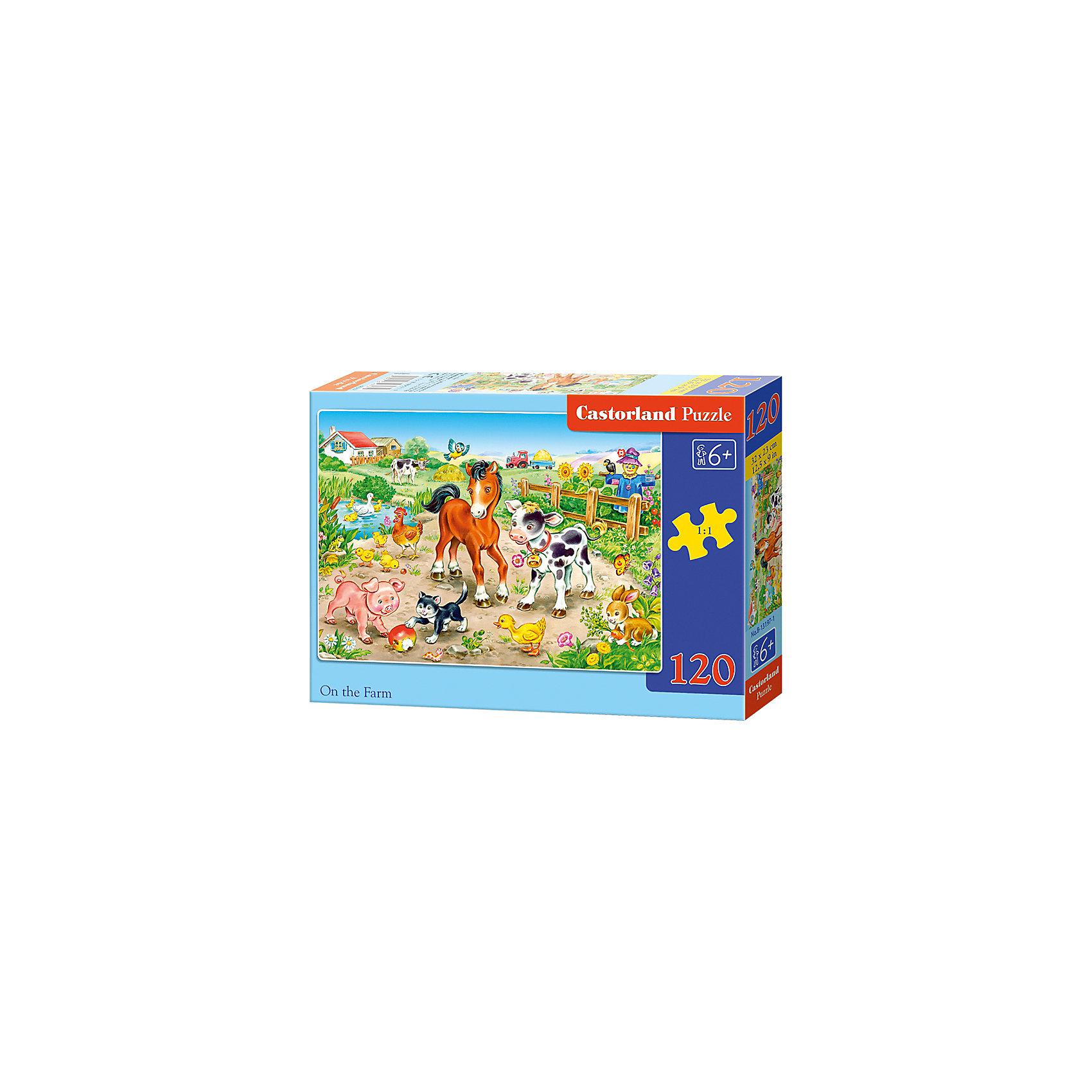 Пазл Castorland На ферме, 120 деталейКлассические пазлы<br>Характеристики:<br><br>• возраст: от 6 лет<br>• количество деталей: 120 шт.<br>• размер собранного пазла: 32х23 см.<br>• материал: картон<br>• упаковка: картонная коробка<br>• размер упаковки: 17,5x3,7x13 см.<br>• вес: 300 гр.<br>• страна обладатель бренда: Польша<br><br>Пазл «На ферме» от Castorland (Касторленд) отличается высоким качеством, высоким уровнем полиграфии, насыщенными цветами и идеальной стыковкой элементов. Из 120 элементов пазла ребенок соберет красочную картинку с изображением очаровательных домашних животных на ферме.<br><br>Пазл На ферме, 120 деталей, Castorland (Касторленд) можно купить в нашем интернет-магазине.<br><br>Ширина мм: 175<br>Глубина мм: 130<br>Высота мм: 37<br>Вес г: 300<br>Возраст от месяцев: 72<br>Возраст до месяцев: 2147483647<br>Пол: Унисекс<br>Возраст: Детский<br>SKU: 6725094