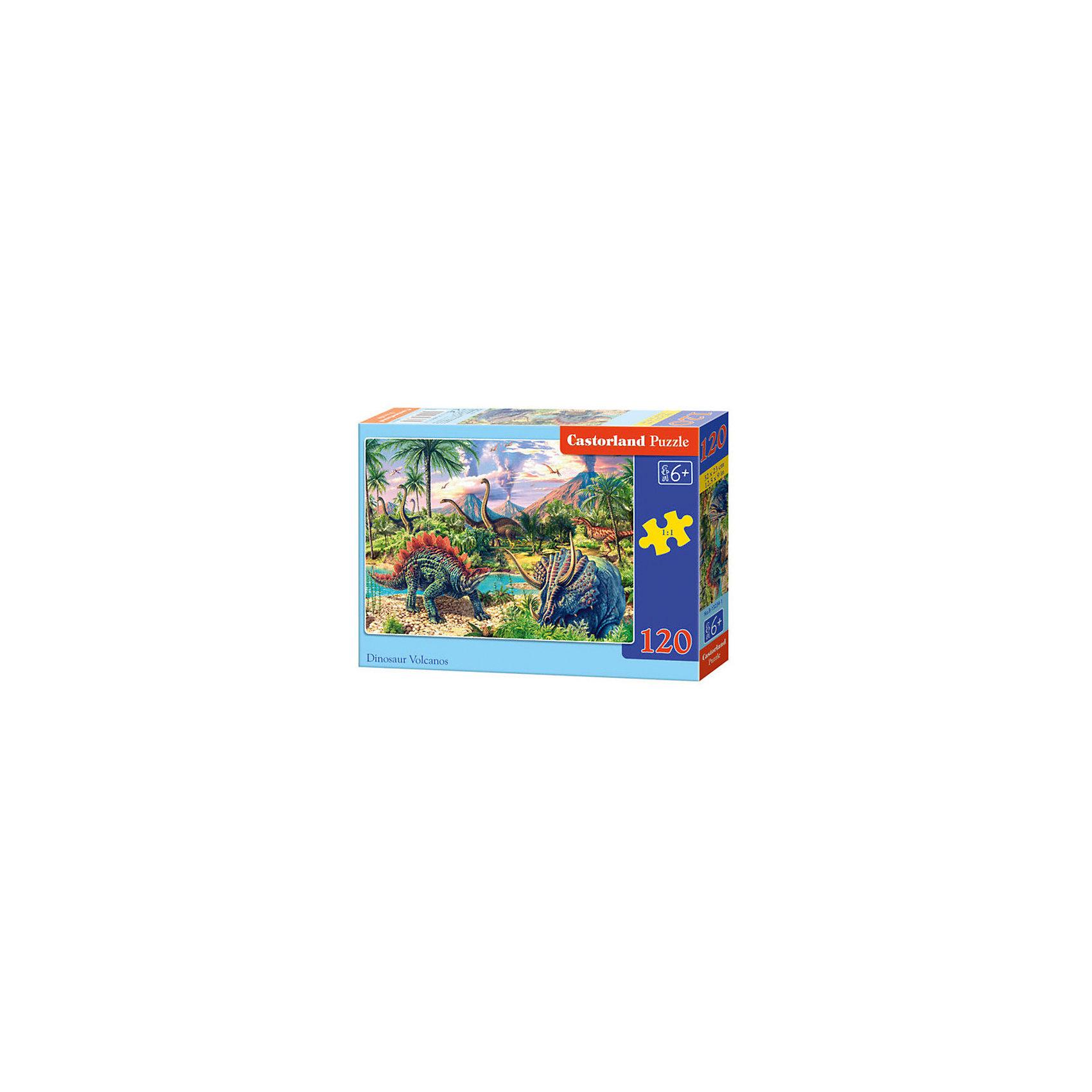 Пазл Castorland Динозавры, 120 деталейПазлы для детей постарше<br>Характеристики:<br><br>• возраст: от 6 лет<br>• количество деталей: 120 шт.<br>• размер собранного пазла: 32х23 см.<br>• материал: картон<br>• упаковка: картонная коробка<br>• размер упаковки: 17,5x3,7x13 см.<br>• вес: 300 гр.<br>• страна обладатель бренда: Польша<br><br>Пазл «Динозавры» от Castorland (Касторленд) отличается высоким качеством, высоким уровнем полиграфии, насыщенными цветами и идеальной стыковкой элементов. Из 120 элементов пазла ребенок соберет красочную картинку, на которой изображены динозавры на фоне величественных гор и пышной растительности.<br><br>Пазл Динозавры, 120 деталей, Castorland (Касторленд) можно купить в нашем интернет-магазине.<br><br>Ширина мм: 175<br>Глубина мм: 130<br>Высота мм: 37<br>Вес г: 300<br>Возраст от месяцев: 72<br>Возраст до месяцев: 2147483647<br>Пол: Унисекс<br>Возраст: Детский<br>SKU: 6725096