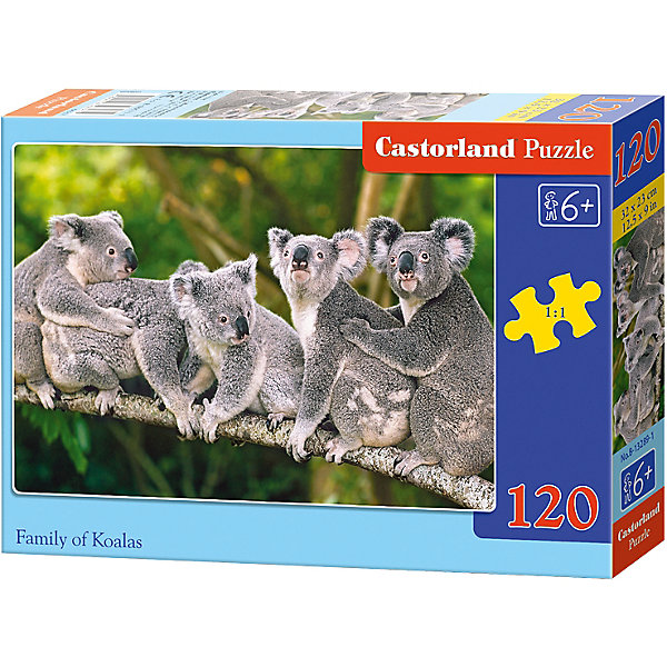 Пазл Castorland Коалы, 120 деталейПазлы классические<br>Характеристики:<br><br>• возраст: от 6 лет<br>• количество деталей: 120 шт.<br>• размер собранного пазла: 32х23 см.<br>• материал: картон<br>• упаковка: картонная коробка<br>• размер упаковки: 17,5x3,7x13 см.<br>• вес: 300 гр.<br>• страна обладатель бренда: Польша<br><br>Пазл «Коалы» от Castorland (Касторленд) отличается высоким качеством, высоким уровнем полиграфии, насыщенными цветами и идеальной стыковкой элементов. Из 120 элементов пазла ребенок соберет красочную картинку с изображением коал, сидящих на ветке эвкалипта.<br><br>Пазл Коалы, 120 деталей, Castorland (Касторленд) можно купить в нашем интернет-магазине.<br><br>Ширина мм: 175<br>Глубина мм: 130<br>Высота мм: 37<br>Вес г: 300<br>Возраст от месяцев: 72<br>Возраст до месяцев: 2147483647<br>Пол: Унисекс<br>Возраст: Детский<br>SKU: 6725100