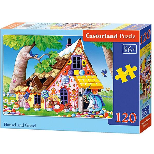 Пазл Castorland Гензель и Гретель Пряничный домик, 120 деталейПазлы для детей постарше<br>Характеристики:<br><br>• возраст: от 6 лет<br>• количество деталей: 120 шт.<br>• размер собранного пазла: 32х23 см.<br>• материал: картон<br>• упаковка: картонная коробка<br>• размер упаковки: 17,5x3,7x13 см.<br>• вес: 300 гр.<br>• страна обладатель бренда: Польша<br><br>Пазл «Пряничный домик» от Castorland (Касторленд) отличается высоким качеством, высоким уровнем полиграфии, насыщенными цветами и идеальной стыковкой элементов. Из 120 элементов пазла ребенок соберет красочную картинку с изображением сценки из мультфильма «Гензель и Гретель».<br><br>Пазл Пряничный домик, 120 деталей, Castorland (Касторленд) можно купить в нашем интернет-магазине.<br><br>Ширина мм: 175<br>Глубина мм: 130<br>Высота мм: 37<br>Вес г: 300<br>Возраст от месяцев: 72<br>Возраст до месяцев: 2147483647<br>Пол: Унисекс<br>Возраст: Детский<br>SKU: 6725104