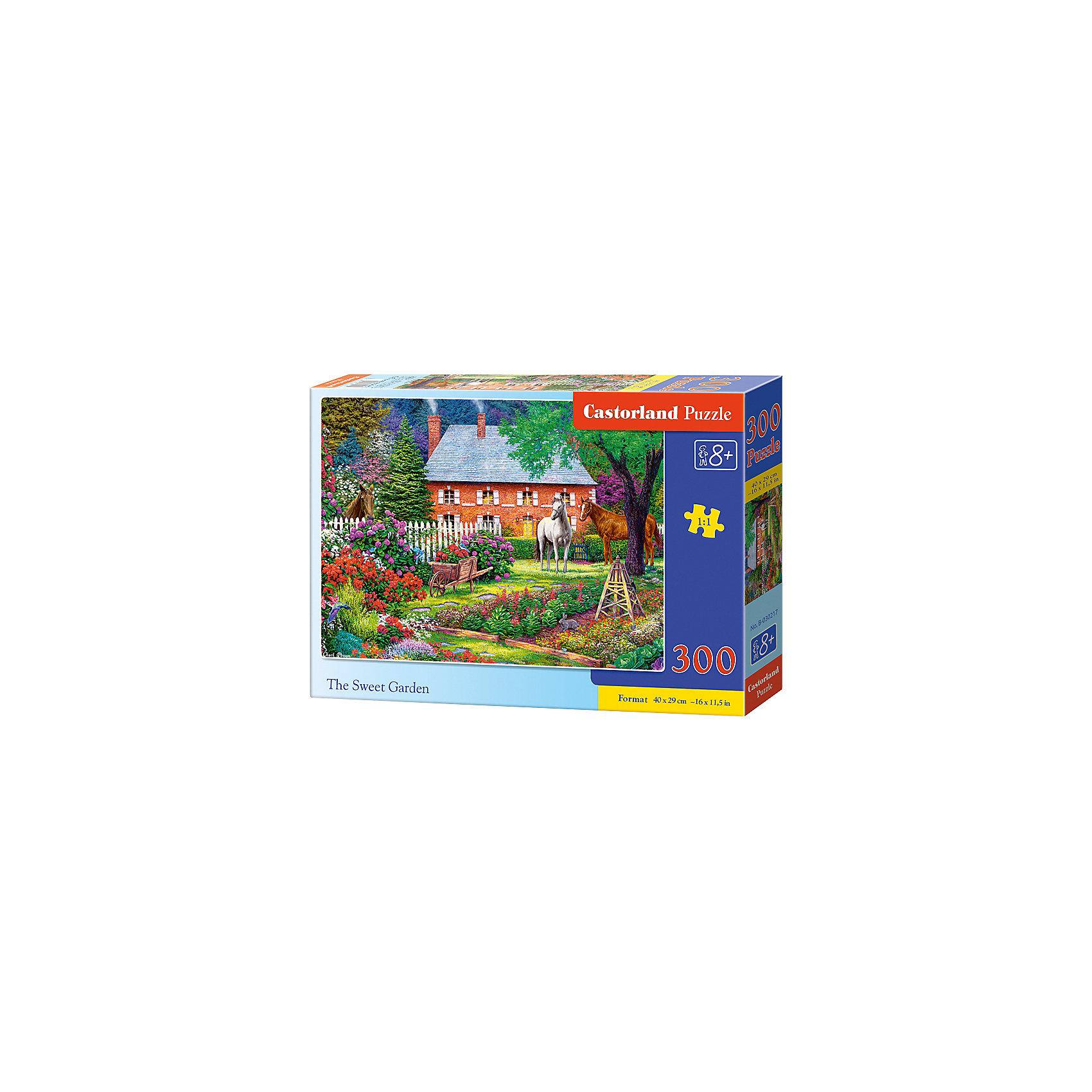 Пазл Castorland Чудесный сад, 300 деталейПазлы для детей постарше<br>Характеристики:<br><br>• возраст: от 8 лет<br>• количество деталей: 300 шт.<br>• размер собранного пазла: 40х29 см.<br>• материал: картон<br>• упаковка: картонная коробка<br>• размер упаковки: 32x4,7x22 см.<br>• вес: 300 гр.<br>• страна обладатель бренда: Польша<br><br>Пазл «Чудесный сад» от Castorland (Касторленд) отличается высоким качеством, высоким уровнем полиграфии, насыщенными цветами и идеальной стыковкой элементов. Из 300 элементов пазла ребенок соберет красивую картину с изображением живописного сада.<br><br>Пазл Чудесный сад, 300 деталей, Castorland (Касторленд) можно купить в нашем интернет-магазине.<br><br>Ширина мм: 320<br>Глубина мм: 220<br>Высота мм: 47<br>Вес г: 300<br>Возраст от месяцев: 96<br>Возраст до месяцев: 2147483647<br>Пол: Унисекс<br>Возраст: Детский<br>SKU: 6725106
