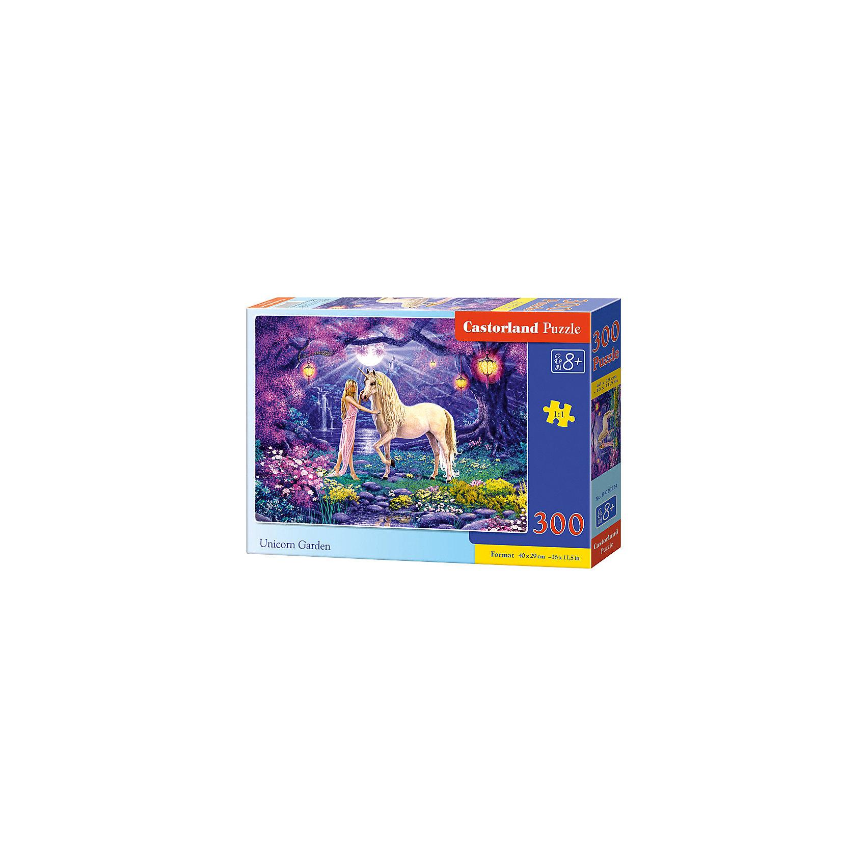 Пазл Castorland Единорог, 300 деталейПазлы для детей постарше<br>Характеристики:<br><br>• возраст: от 8 лет<br>• количество деталей: 300 шт.<br>• размер собранного пазла: 40х29 см.<br>• материал: картон<br>• упаковка: картонная коробка<br>• размер упаковки: 32x4,7x22 см.<br>• вес: 300 гр.<br>• страна обладатель бренда: Польша<br><br>Пазл «Единорог» от Castorland (Касторленд) отличается высоким качеством, высоким уровнем полиграфии, насыщенными цветами и идеальной стыковкой элементов. Из 300 элементов пазла ребенок соберет красивую картину с изображением единорога и очаровательной девушки, которые стоят на чудесной сказочной поляне.<br><br>Пазл Единорог, 300 деталей, Castorland (Касторленд) можно купить в нашем интернет-магазине.<br><br>Ширина мм: 320<br>Глубина мм: 220<br>Высота мм: 47<br>Вес г: 300<br>Возраст от месяцев: 96<br>Возраст до месяцев: 2147483647<br>Пол: Женский<br>Возраст: Детский<br>SKU: 6725107