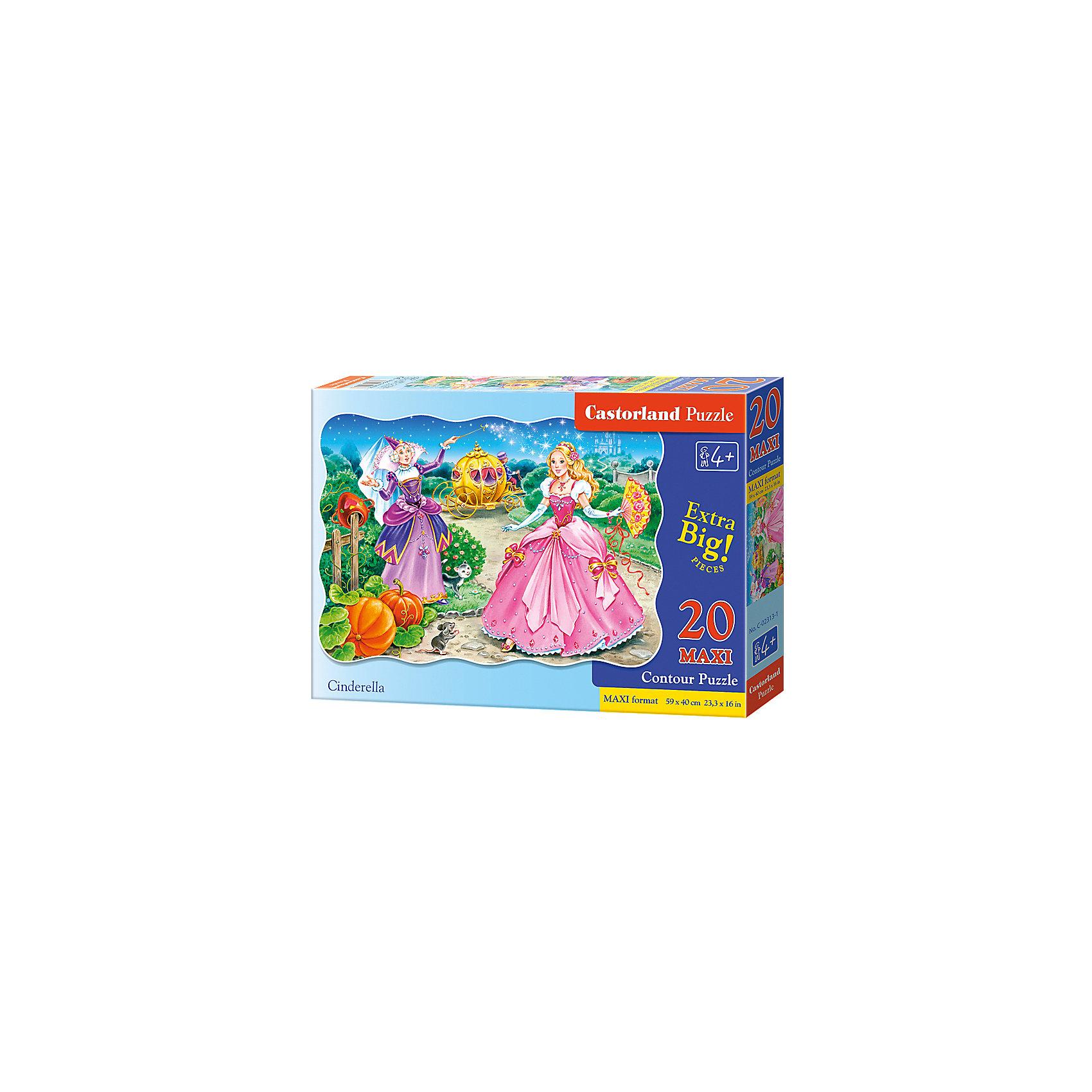 Макси-пазл Castorland Золушка, 20 деталейПазлы для малышей<br>Характеристики:<br><br>• возраст: от 4 лет<br>• количество деталей: 20 деталей MAXI<br>• размер собранного пазла: 59х40 см.<br>• материал: картон<br>• упаковка: картонная коробка<br>• размер упаковки: 32x4,7x22 см.<br>• вес: 400 гр.<br>• страна обладатель бренда: Польша<br><br>Из 20 больших элементов пазла ребенок соберет красочную картинку с изображением прекрасной Золушки и ее крестной - Феи. Благодаря фигурной форме картинки, процесс сбора элементов в одно изображение будет увлекательным и интересным.<br><br>Пазл Золушка, 20 деталей MAXI, Castorland (Касторленд) можно купить в нашем интернет-магазине.<br><br>Ширина мм: 320<br>Глубина мм: 220<br>Высота мм: 47<br>Вес г: 400<br>Возраст от месяцев: 48<br>Возраст до месяцев: 2147483647<br>Пол: Женский<br>Возраст: Детский<br>SKU: 6725109