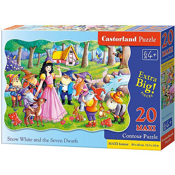Макси-пазл Castorland Белоснежка, 20 деталейПазлы для малышей<br>Характеристики:<br><br>• возраст: от 4 лет<br>• количество деталей: 20 деталей MAXI<br>• размер собранного пазла: 59х40 см.<br>• материал: картон<br>• упаковка: картонная коробка<br>• размер упаковки: 32x4,7x22 см.<br>• вес: 400 гр.<br>• страна обладатель бренда: Польша<br><br>Из 20 больших элементов пазла ребенок соберет красивую картинку с изображением Белоснежки, гномов и лесных зверят, которые собрались на лесной полянке. Благодаря фигурной форме картинки, процесс сбора элементов в одно изображение будет увлекательным и интересным..<br><br>Пазл Белоснежка, 20 деталей MAXI, Castorland (Касторленд) можно купить в нашем интернет-магазине.<br><br>Ширина мм: 320<br>Глубина мм: 220<br>Высота мм: 47<br>Вес г: 400<br>Возраст от месяцев: 48<br>Возраст до месяцев: 2147483647<br>Пол: Женский<br>Возраст: Детский<br>SKU: 6725110